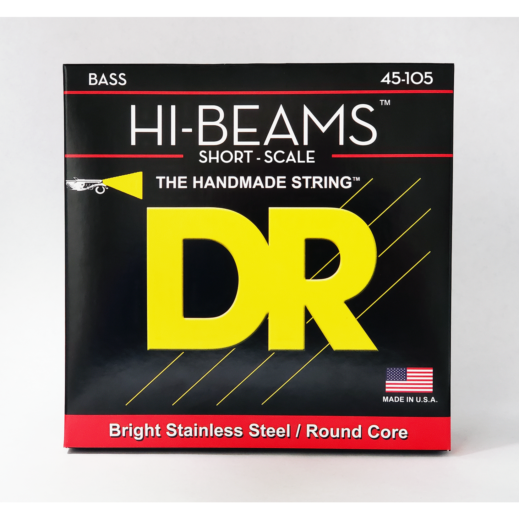 DR Strings DR HI-BEAMS Bright Stainless Steel/Round Core SHORT SCALE 45-105 Bass Strings, 4-String Set, SMR-45