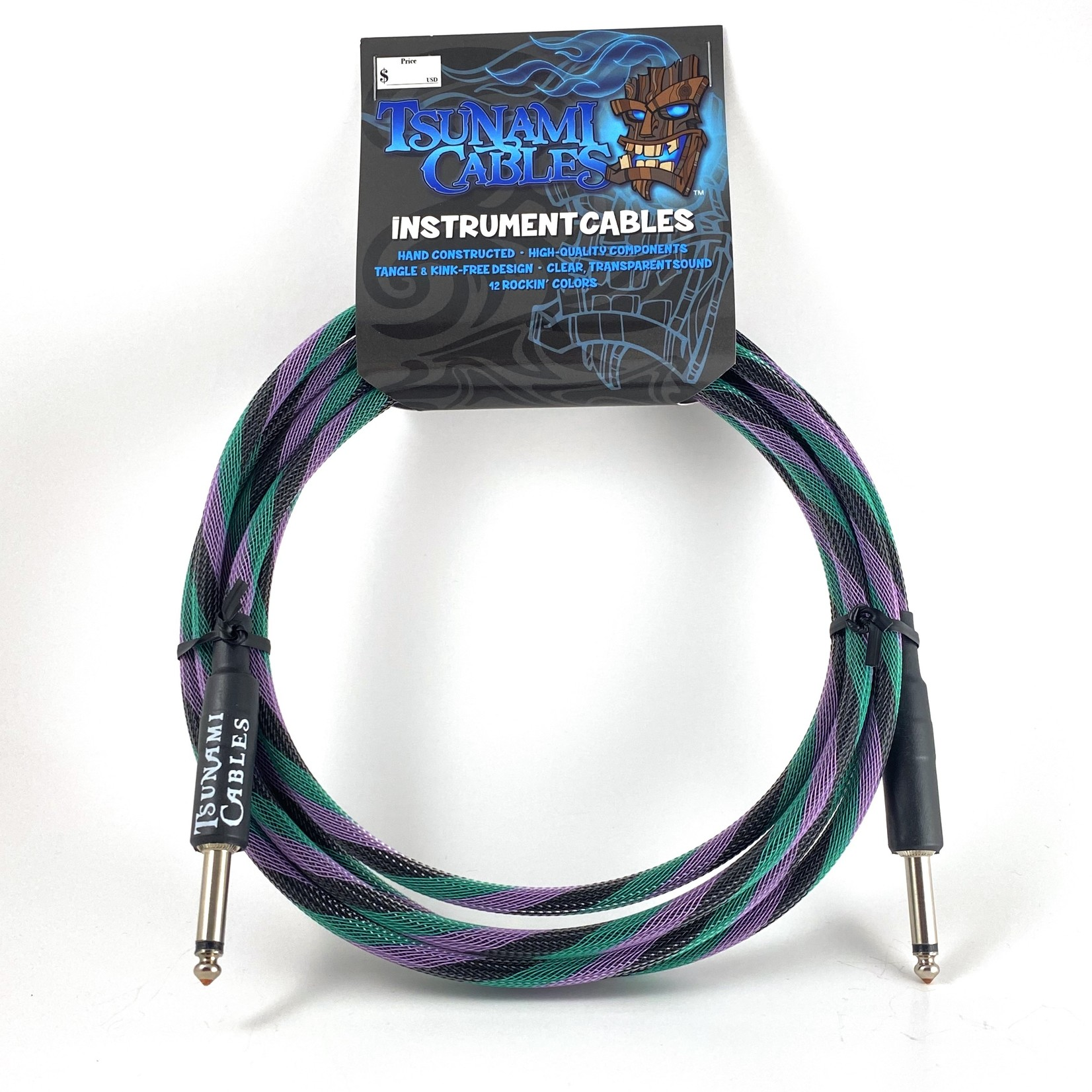 """Tsunami Cables Tsunami Cables 10' Handcrafted Premium Instrument Cable, 1/4"""" Straight-Straight, """"Twilight"""""""
