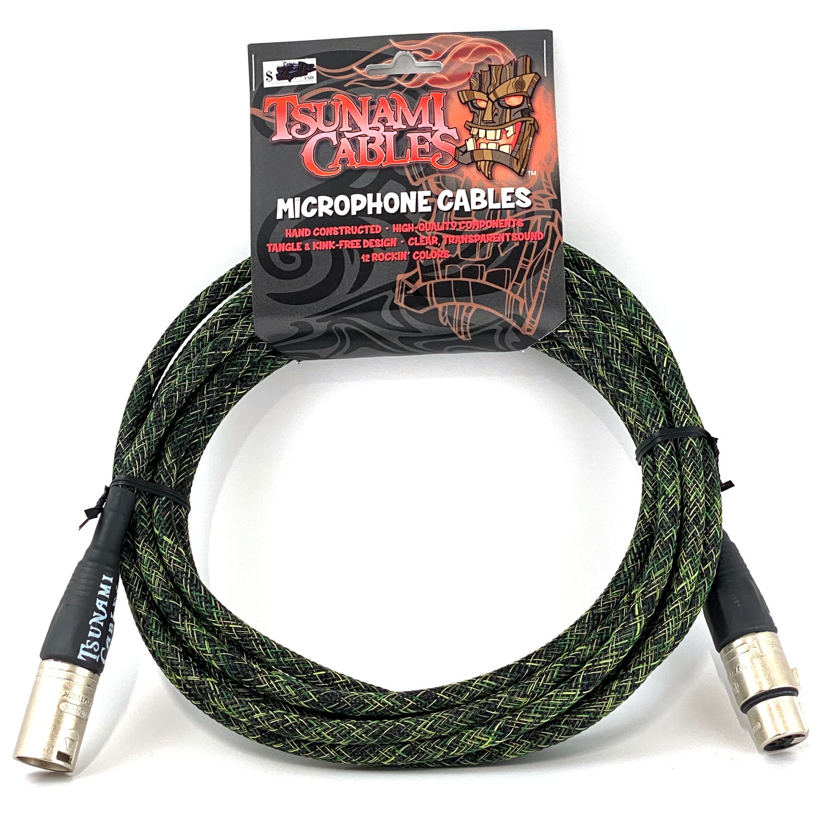 """Tsunami Cables Tsunami Cables 15' Handcrafted Premium Microphone XLR Cable """"Camo"""" (Camouflage Green)"""