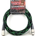 "Tsunami Cables Tsunami Cables 15' Handcrafted Premium Microphone XLR Cable, ""Matrix"" (Black/Green)"