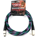 "Tsunami Cables Tsunami Cables 15' Handcrafted Premium Microphone XLR Cable, ""Twilight"" (Black/Purple/Teal)"