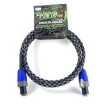 "Tsunami Cables Tsunami Cables 5' Handcrafted Premium Speaker Cable, SpeakON Connectors ""Checkered Flag""-Black/White"