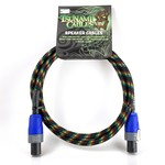 "Tsunami Cables Tsunami Cables 5' Handcrafted Premium Speaker Cable, SpeakON Connectors ""Reggae"" (Grn/Yelw/Red/Blk)"
