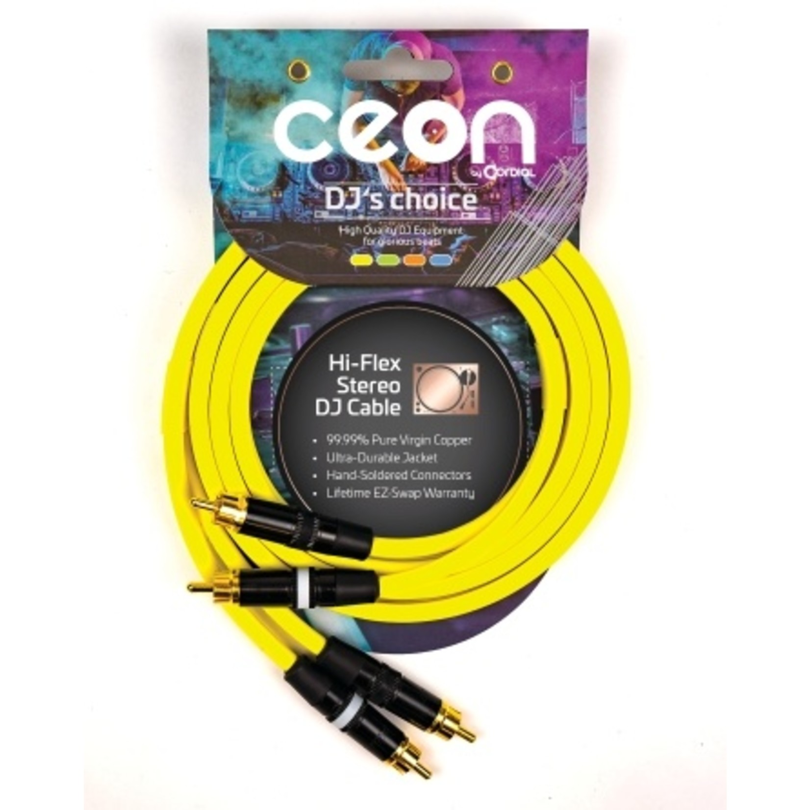 Cordial Cables Cordial Cables Premium DJ Dual/Mono (Black Light) Cable, Ceon Series - Hi-Flex DJ's Choice Stereo RCA to RCA 10-Foot Cable: Neon Yellow
