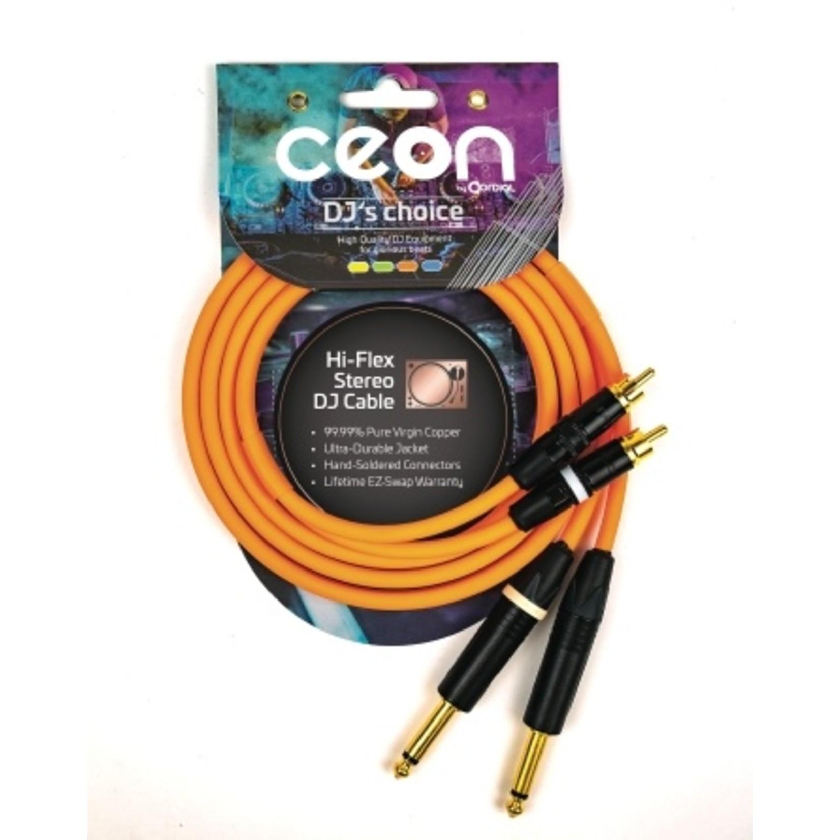 "Cordial Cables Cordial Cables Premium DJ Dual/Mono (Black Light) Cable, Ceon Series - Hi-Flex DJ's Choice Stereo RCA to 1/4"" TS 10-Foot Cable: Neon Orange"
