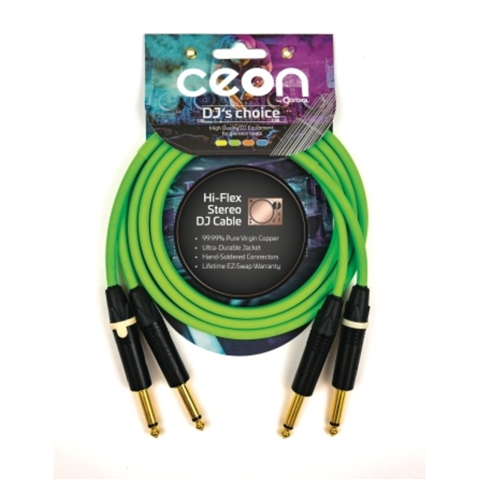 "Cordial Cables Cordial Cables Premium DJ Dual/Mono (Black Light) Cable, Ceon Series - Hi-Flex DJ's Choice Stereo 1/4"" TS to 1/4"" TS 10-Foot Cable: Neon Green"