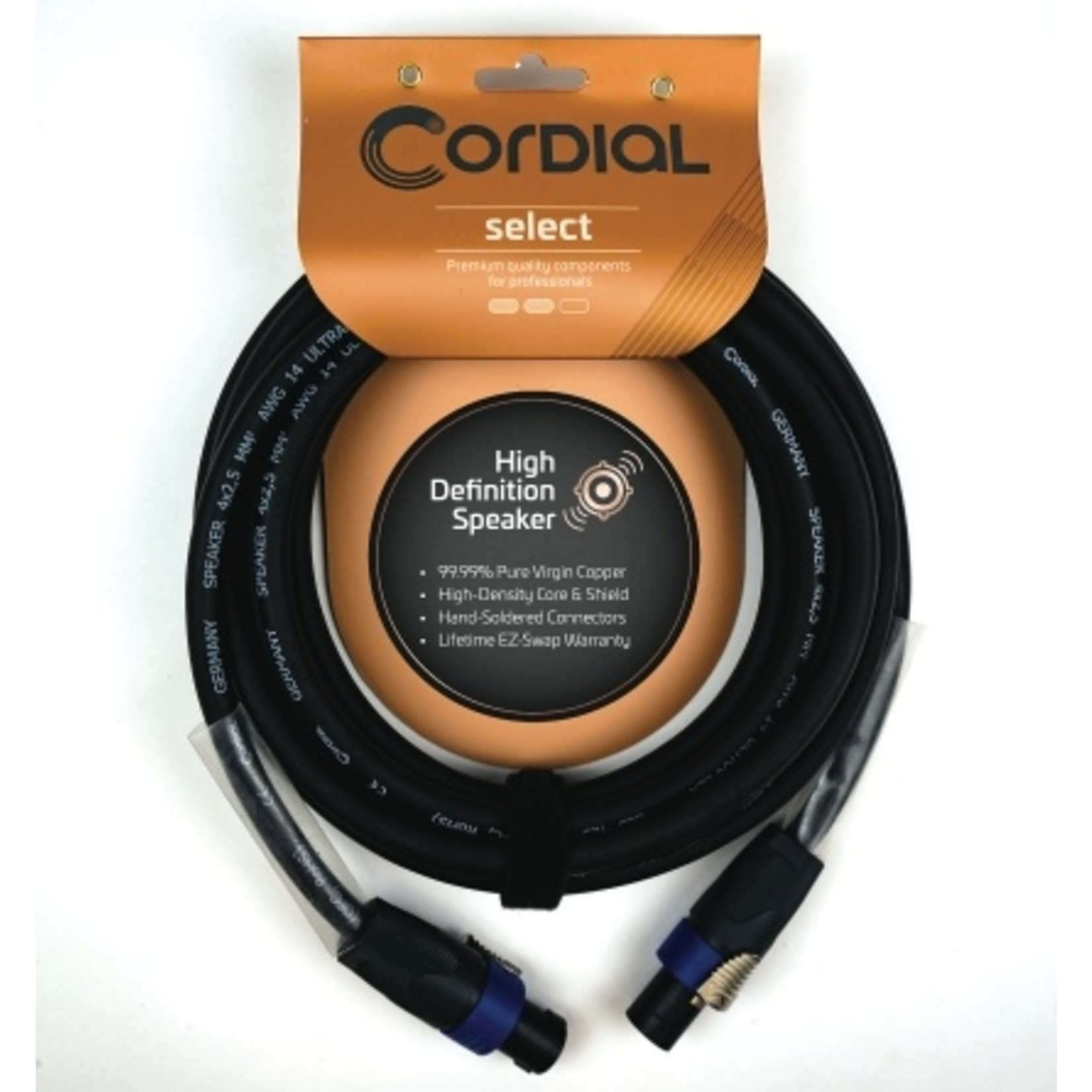 Cordial Cables Cordial Cables Premium Speaker Cable with speakON to speakON Connectors, Select Series - Premium 4-Pole, 2.5mm² Gage Selecter, 33-Foot Cable