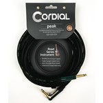 """Cordial Cables Cordial Cables Premium High-Copper Instrument Cable with Road Wrap, Peak Series1/4"""" Straight to 1/4"""" Right Angle Phone Plugs with Enhanced Road Toughness (10' Cable)"""