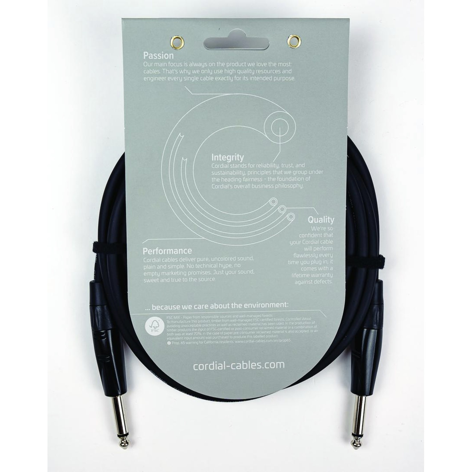 """Cordial Cables Cordial Cables 10-foot Instrument/Guitar Cable with Neutrik Style Connectors (REAN), Essential Series - 1/4"""" TS to 1/4"""" TS Straight"""