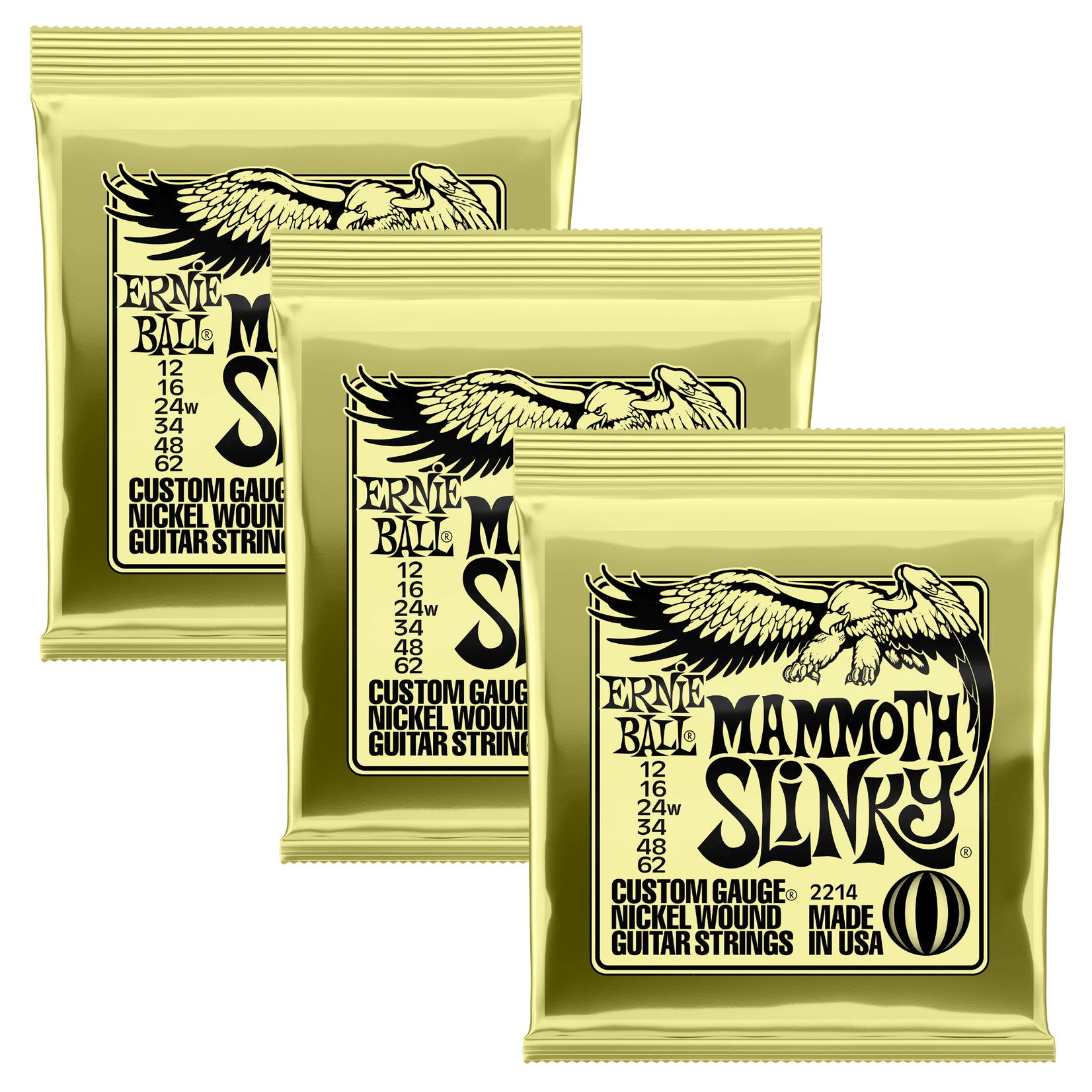 Ernie Ball 3x (3 sets) Ernie Ball Mammoth Slinky Custom Gauge Nickel Wound Electric Guitar Strings (12-62)