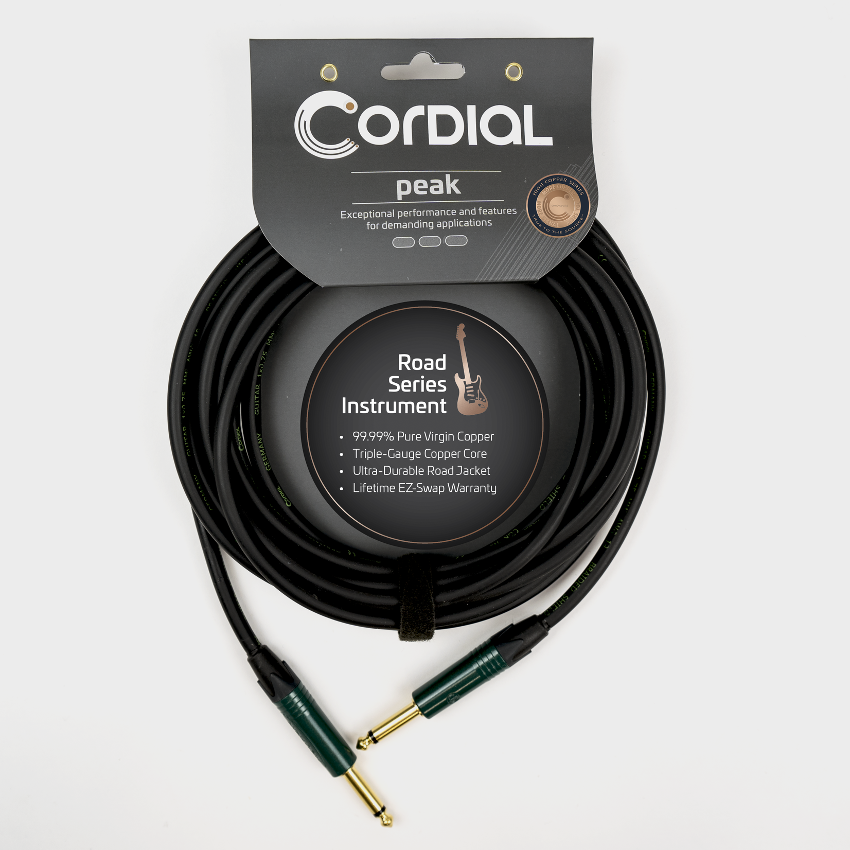 """Cordial Cables Cordial Premium High-Copper Instrument Cable with Road Wrap, Peak Series1/4'' Straight to 1/4'' Right Angle Phone Plugs with Enhanced Road Toughness (6m / 20' 1/4"""" Straight to Straight)"""