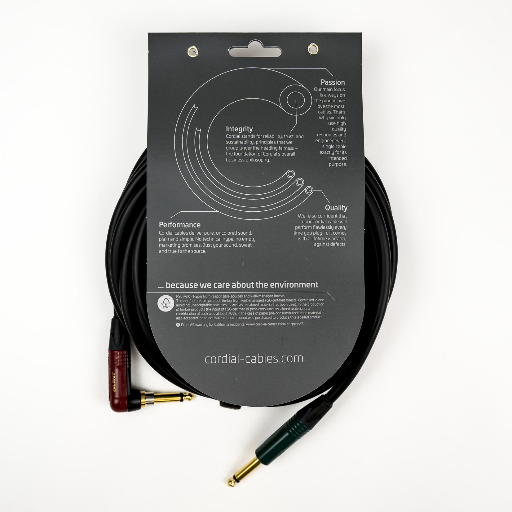 Cordial Cables Cordial 6m /~20ft Premium High-Copper German Inst. Cable, 1/4''-RA SILENT Neutrik Conns., CRI 6 RP-SILENT