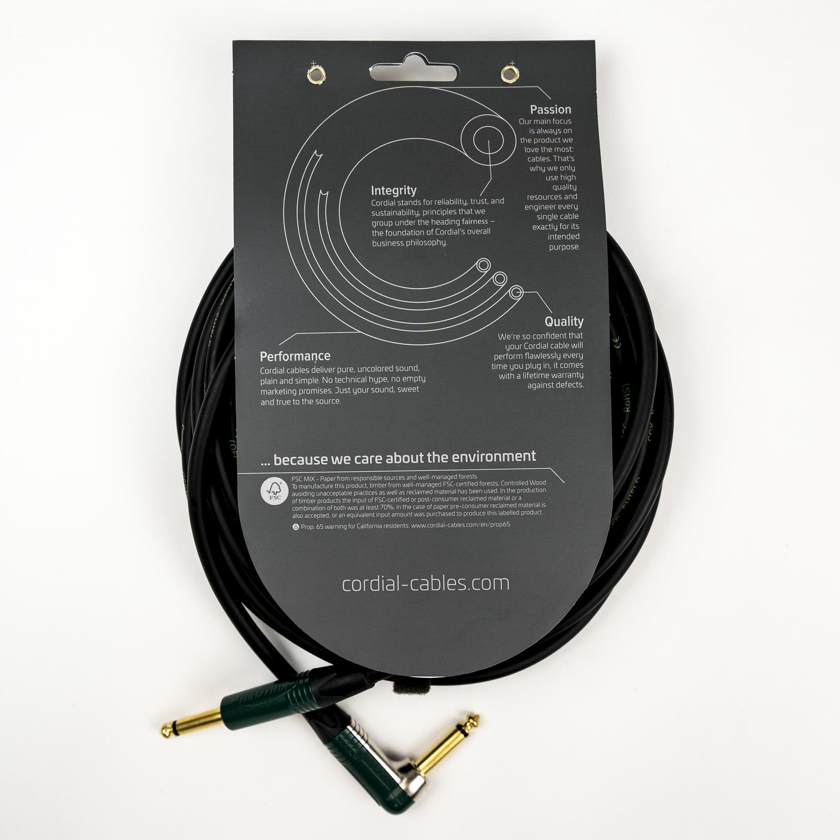Cordial Cables Cordial 6m /~20ft Premium High-Copper German Inst. Cable, 1/4''-RA Neutrik Connectors, CRI 6 PR
