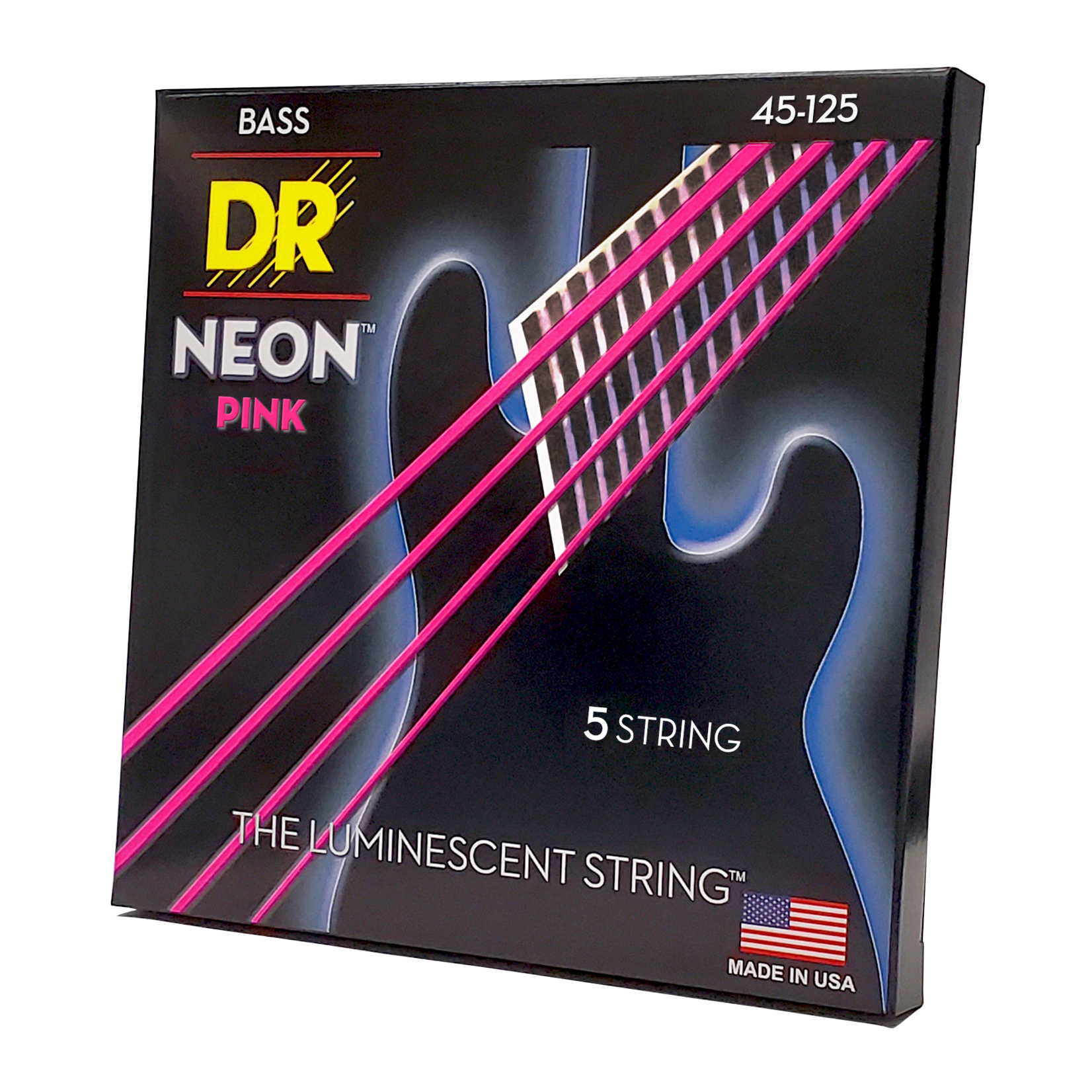 DR Strings DR Strings Neon Pink Bass Strings 5-String Set (45-125), K3 Coated, NPB5-45