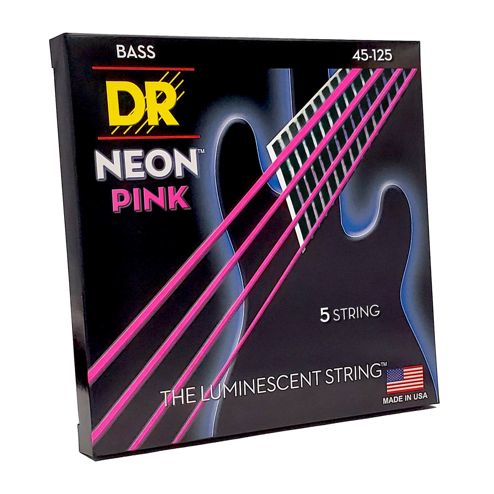 DR Strings DR Strings Neon Pink Bass Strings 5-String Set (45-125), K3 Coated, NPB5-45