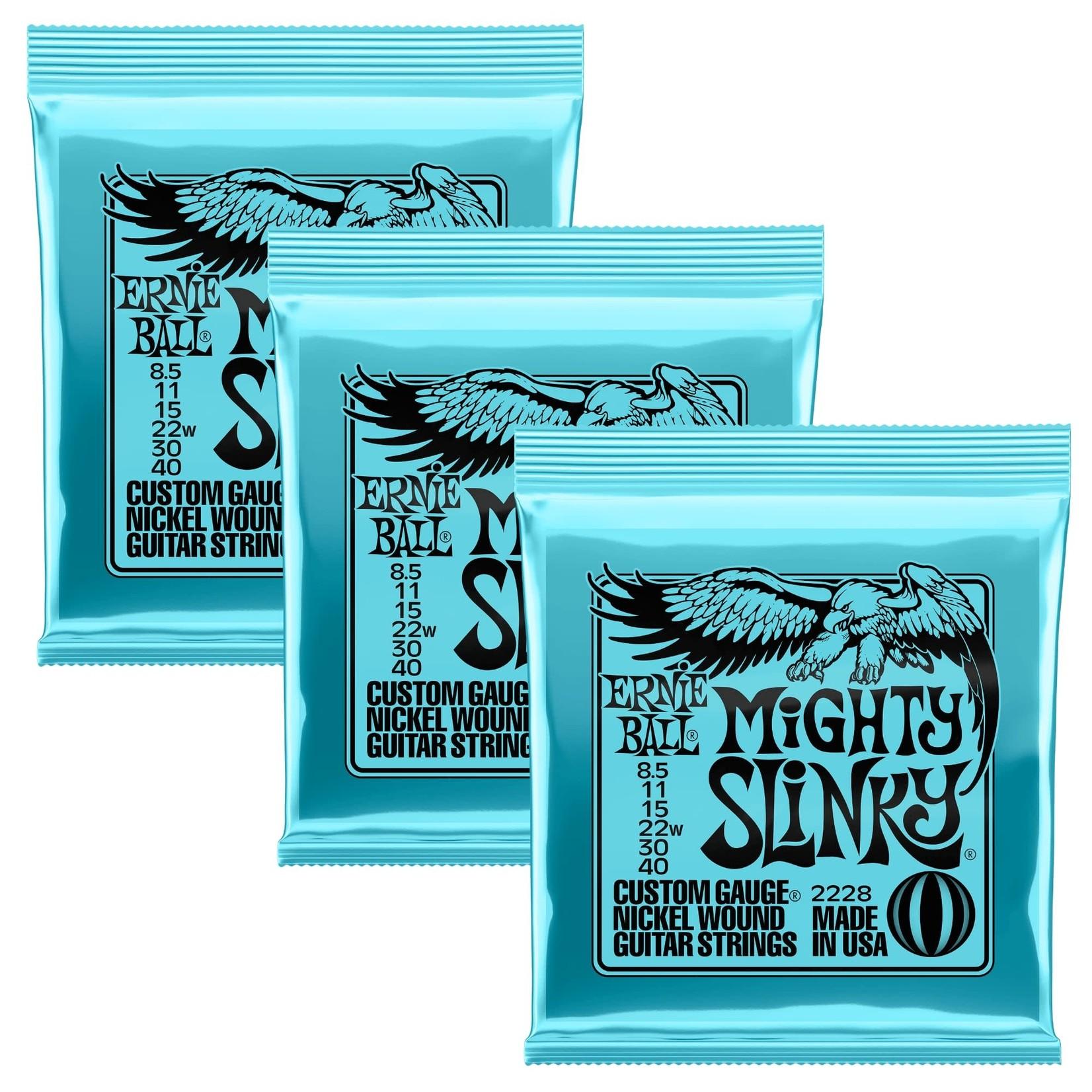 Ernie Ball 3x (3 sets) Ernie Ball Mighty Slinky Custom Gauge Nickel Wound Guitar Strings (8.5-40) (P02228)