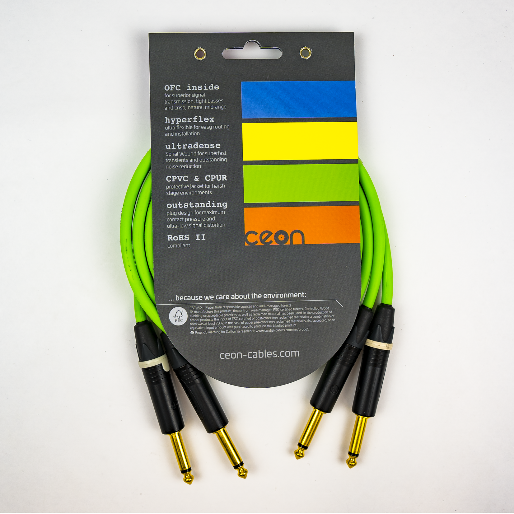 """Cordial Cables Cordial Cables Premium DJ Dual/Mono (Black Light) Cable, Ceon Series - Hi-Flex Stereo 1/4"""" TS to 1/4"""" TS 2-Foot Cable: Neon Green"""