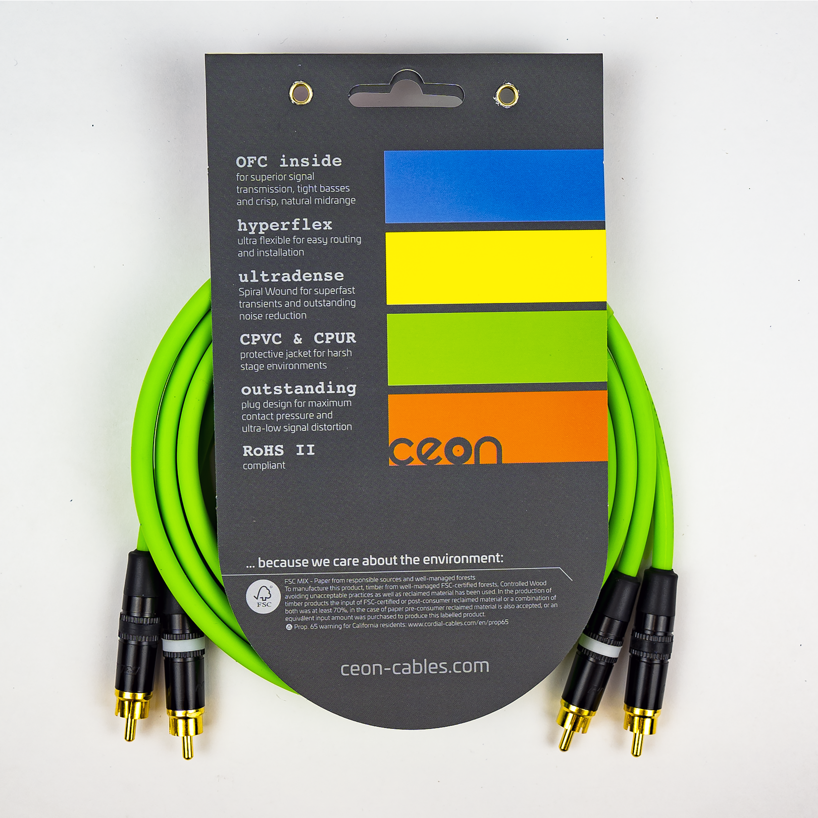 Cordial Cables Cordial Cables Premium DJ Dual/Mono (Black Light) Cable, Ceon Series - Hi-Flex Stereo RCA to RCA 5-Foot Cable: Neon Green