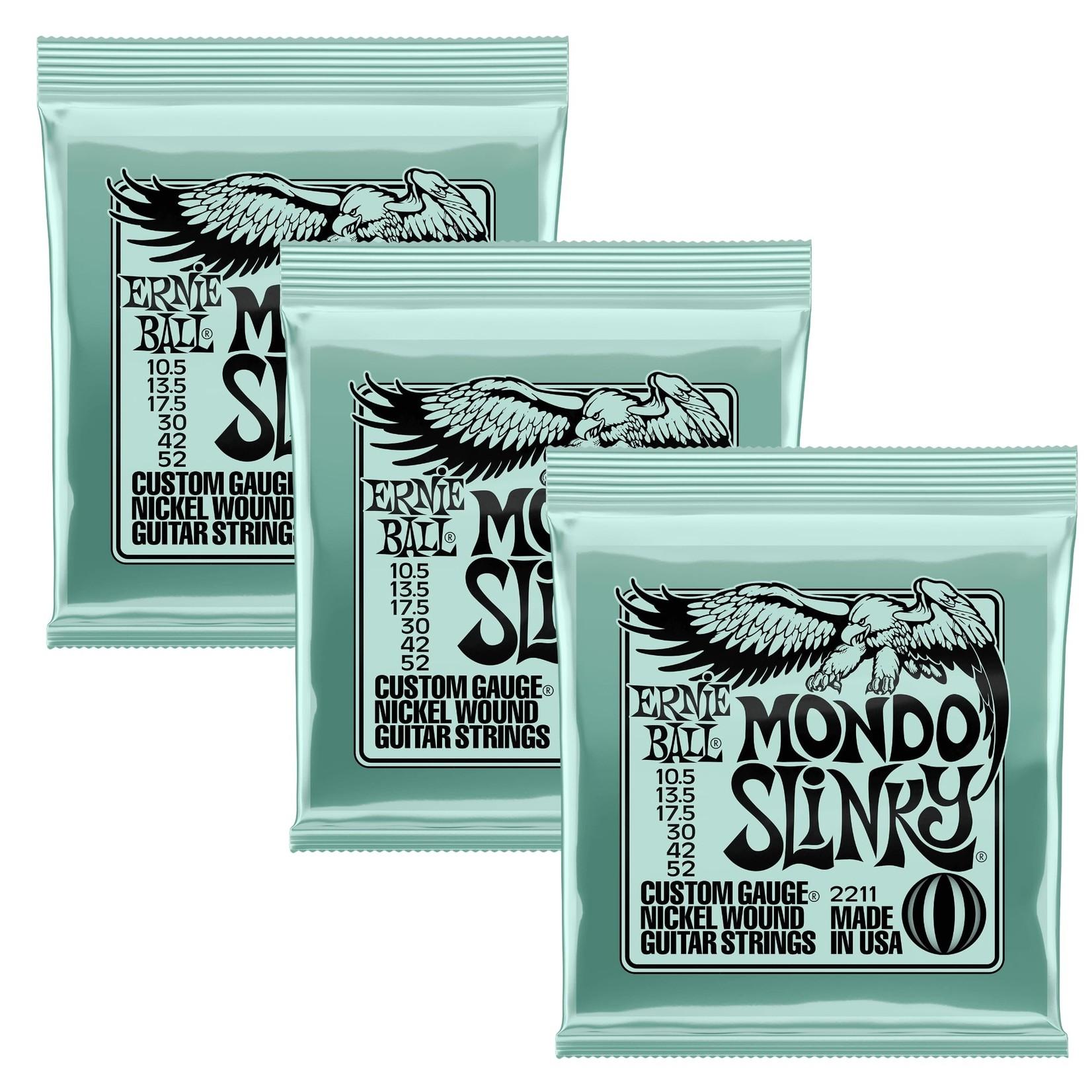 Ernie Ball 3x (3 sets) Ernie Ball Mondo Slinky Custom Gauge Nickel Wound Guitar Strings (10.5-52), 2211