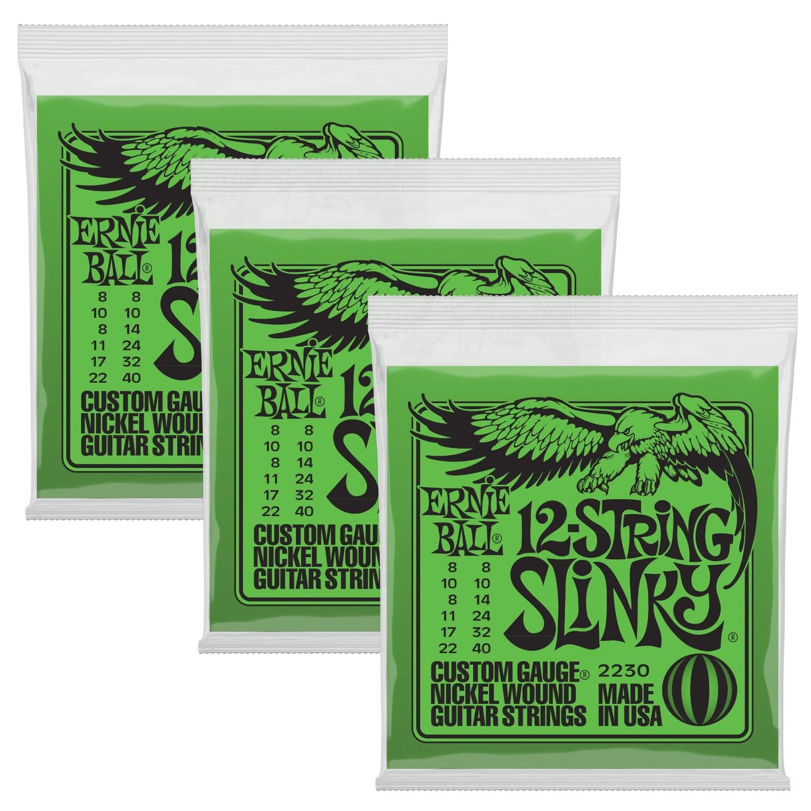 Ernie Ball 3x (3 sets) Ernie Ball 12-String Slinky Custom Gauge Nickel Wound Guitar Strings (8/22, 8/40), 2230
