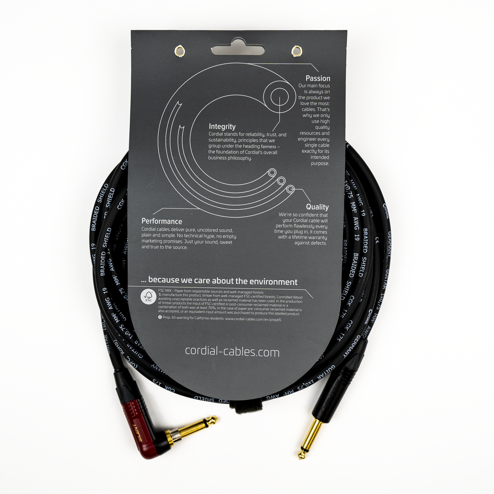 Cordial Cables Cordial 3m /~10ft Premium High-Copper German Inst. Cable, 1/4''-RA Neutrik Silent, CSI 3 RP-SILENT
