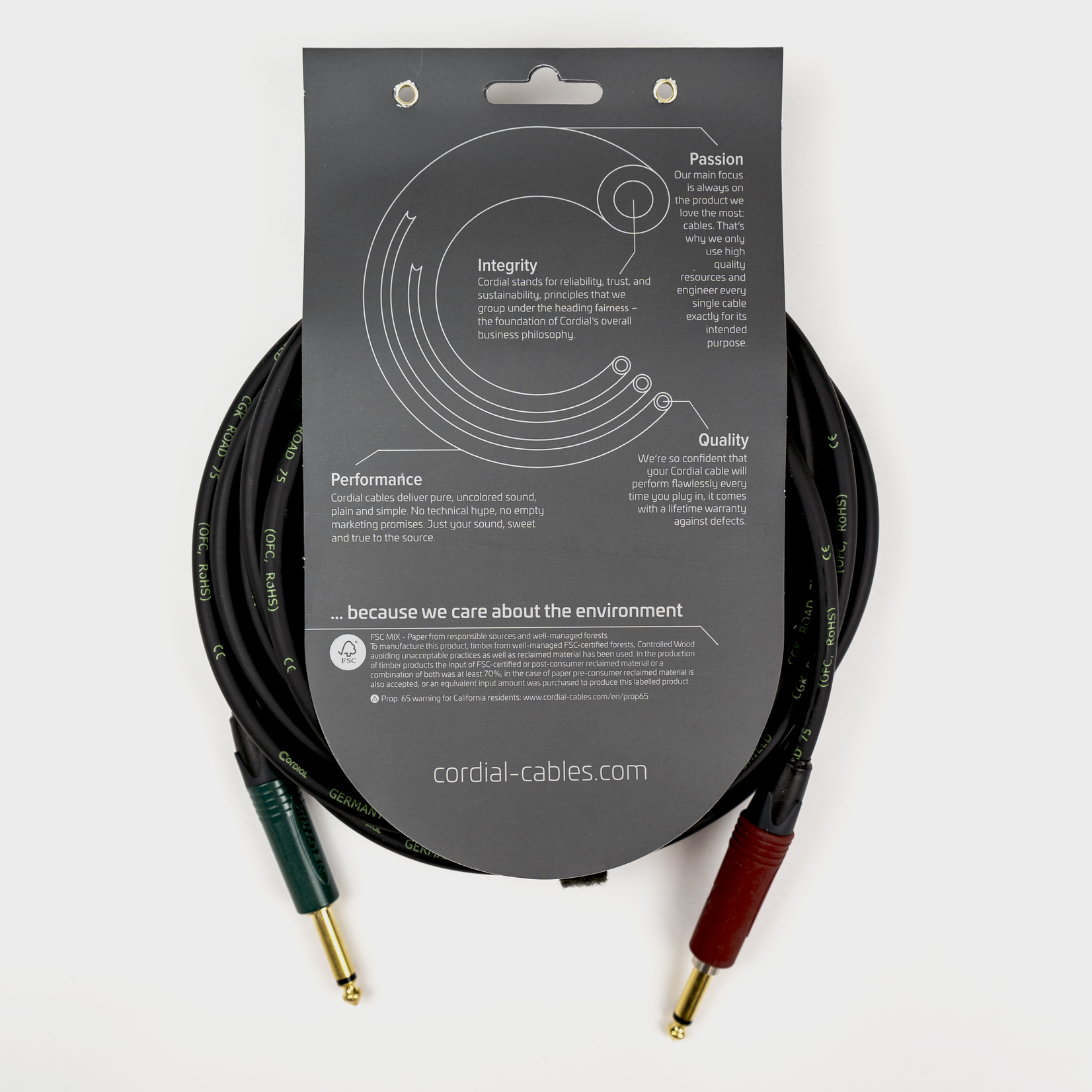 Cordial Cables Cordial 10-foot (3m) Premium Instrument Cable, Straight with SilentPLUG (CRI 3 PP-SILENT)