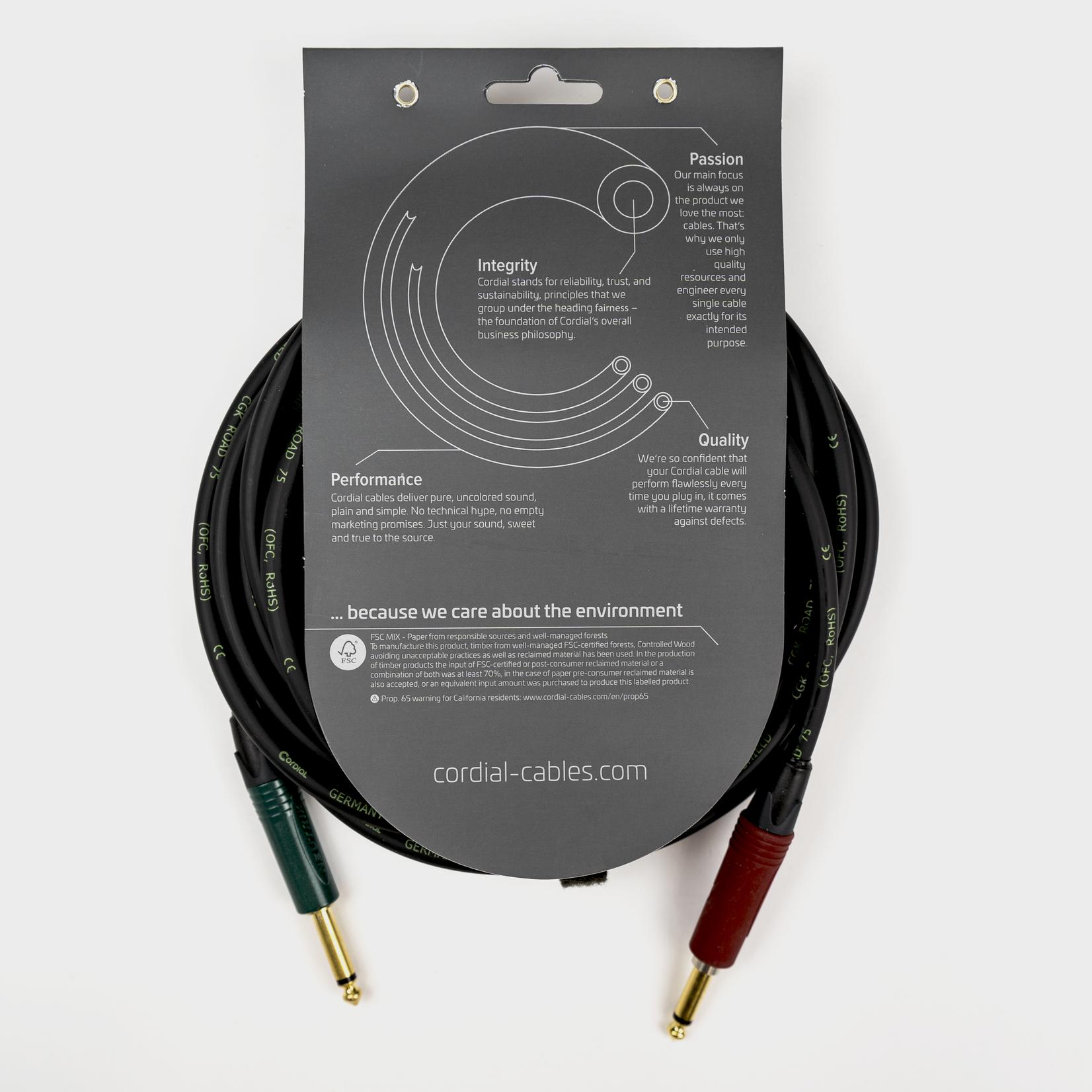 Cordial Cables Cordial 6m /~20ft Premium High-Copper German Inst. Cable, 1/4'' Neutrik Connectors, CRI 6 PP-SILENT