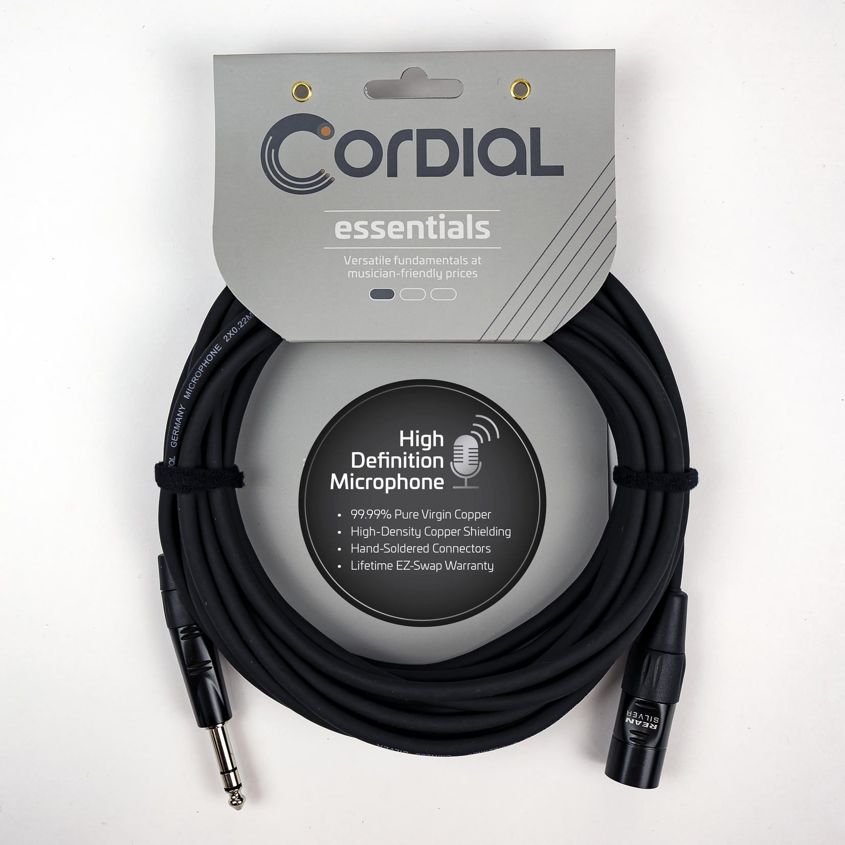 Cordial Cables Cordial Cables Balanced Mic/Line - XLRM to TRS 1/4-inch 5-foot cable, Essential Series