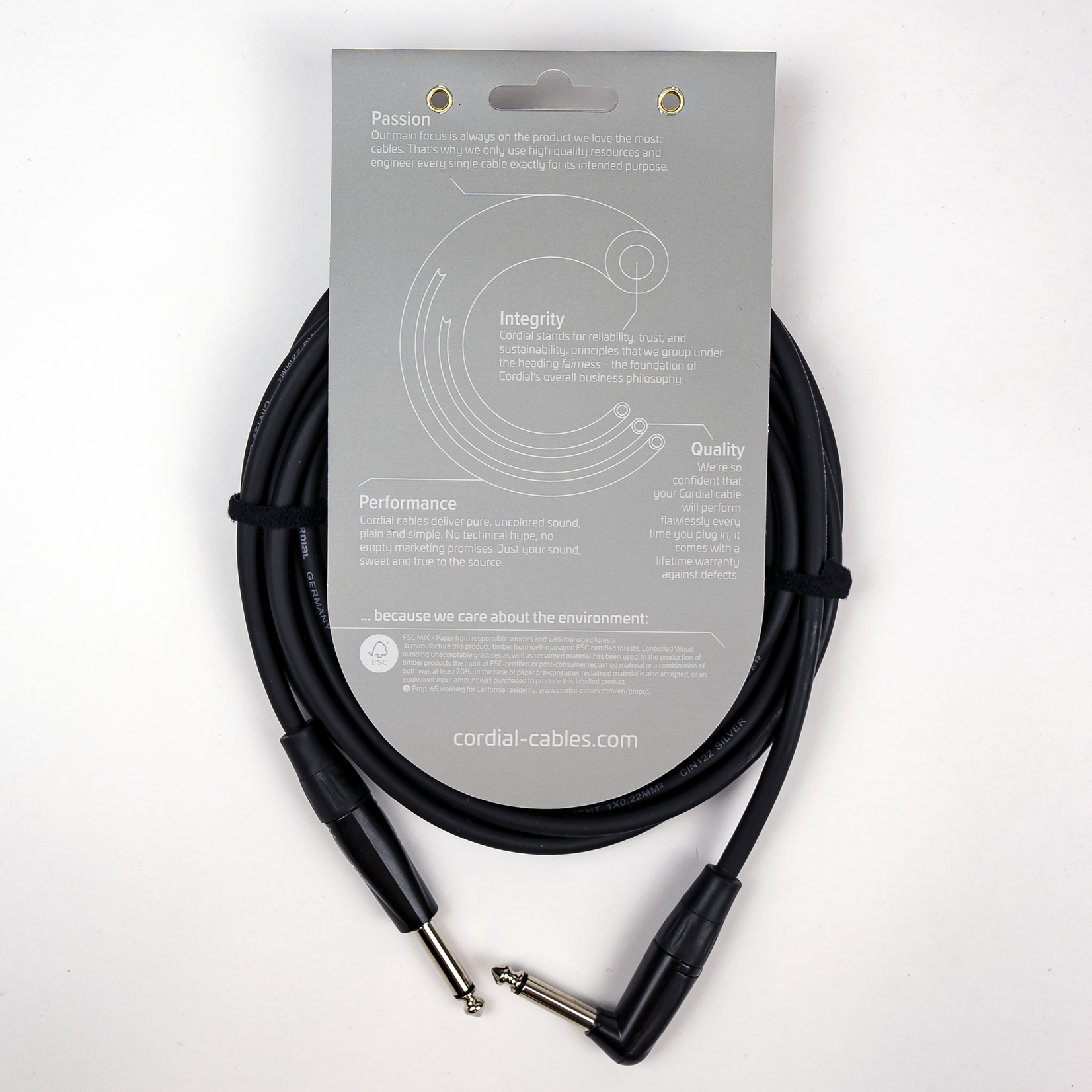 """Cordial Cables Cordial Cables Instrument/Guitar Cable with Neutrik Style Connectors (REAN), Essential Series - 1/4"""" TS Straight to 1/4"""" TS Right Angle (10-Foot Black Cable)"""