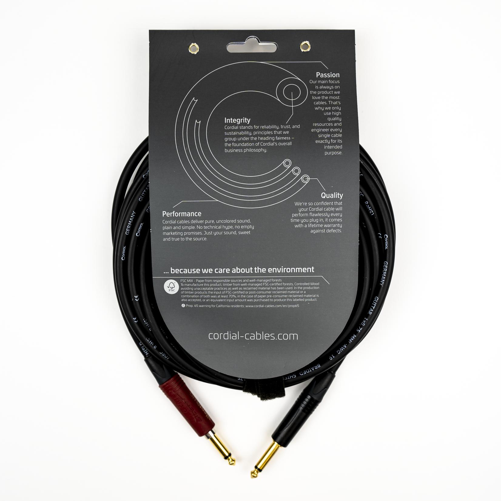 Cordial Cables Cordial 3m /~10ft Premium High-Copper Instrument Cable, 1/4'' Neutrik Silent, SilentPLUG (CSI 3 PP-SILENT)
