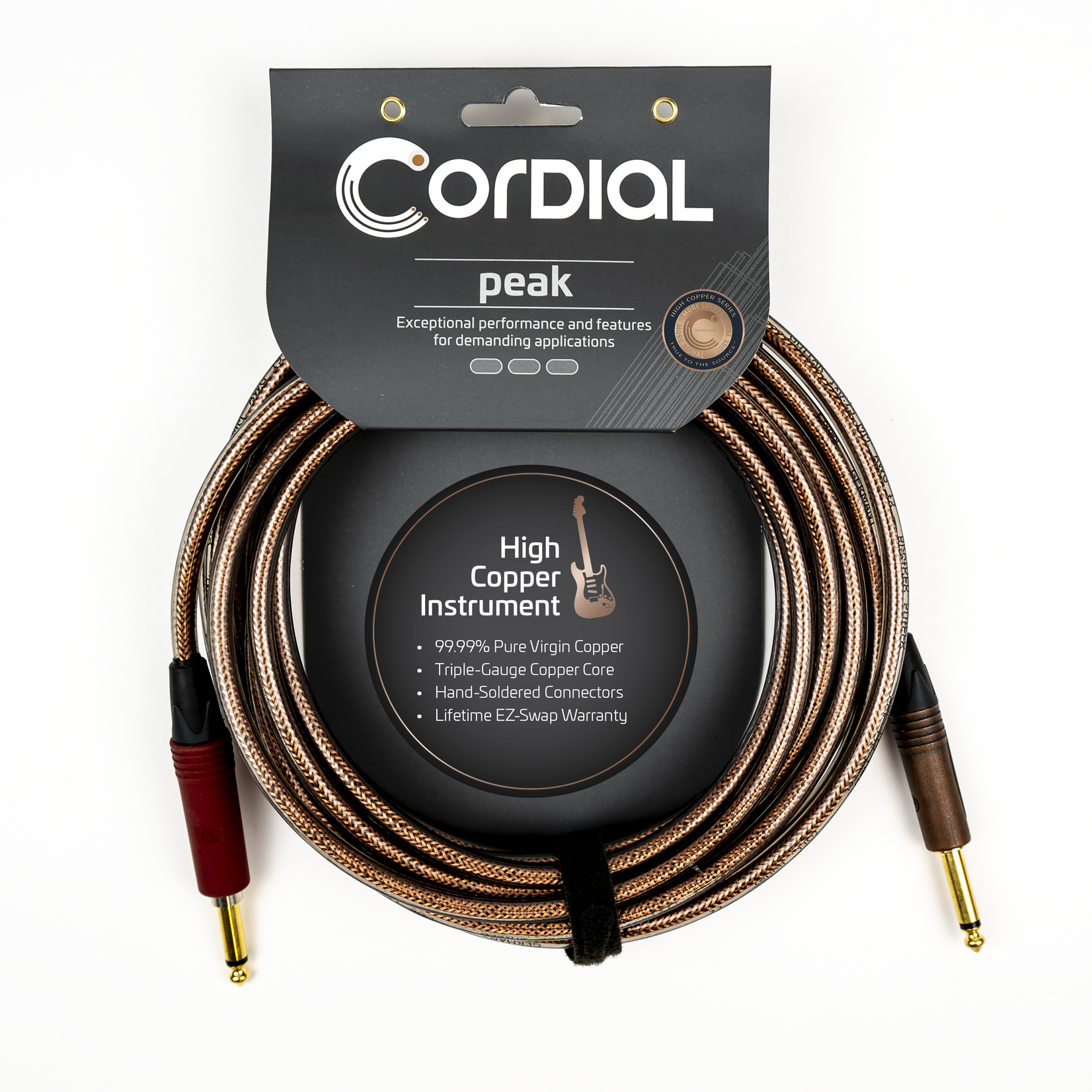 "Cordial Cables Cordial 6m / 20 ft Premium High-Copper Instrument Cable, Straight-Straight 1/4"" with SilentPLUG (CSI6PP-METAL-SILENT)"