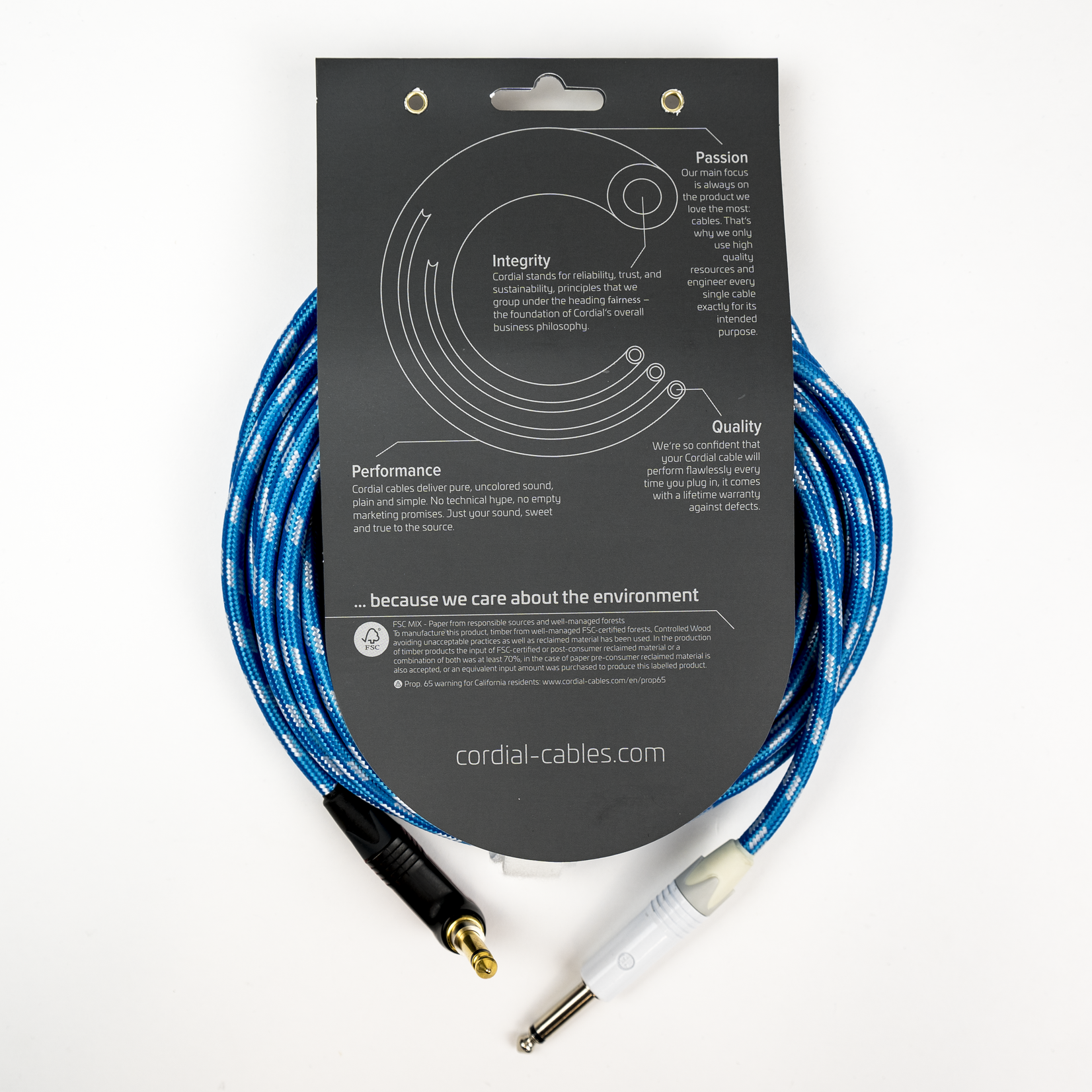 "Cordial Cables Cordial Cables Premium Instrument White/Blue Sky Textile Cable with Neutrik Silent Plug, Peak Series - 10-Foot Cable, 1/4"" Straight to 1/4"" Right-Angle Phone Plugs, No-Fray Sleeve"