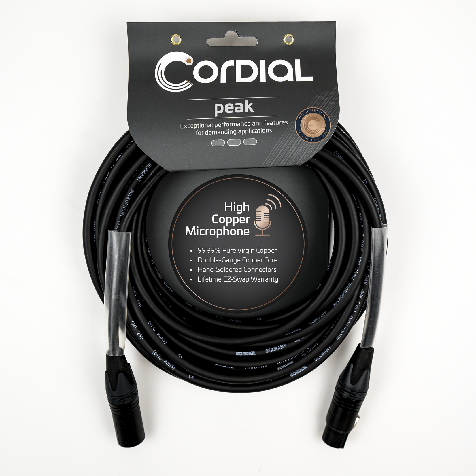 Cordial Cables Cordial Cables Premium High-Copper Studio Microphone Cable with Gold-Plated Contacts, Peak Series - XLR to XLR Plugs, 25-Foot Cable