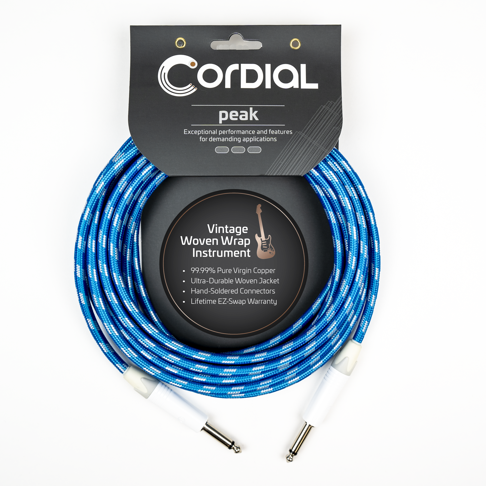 Cordial Cables Cordial 6m/20ft Premium Instrument Cable, White/Blue Sky Textile, Peak Series - 20-Foot Cable, 1/4'' to 1/4'' Phone Plugs, No-Fray Sleeve