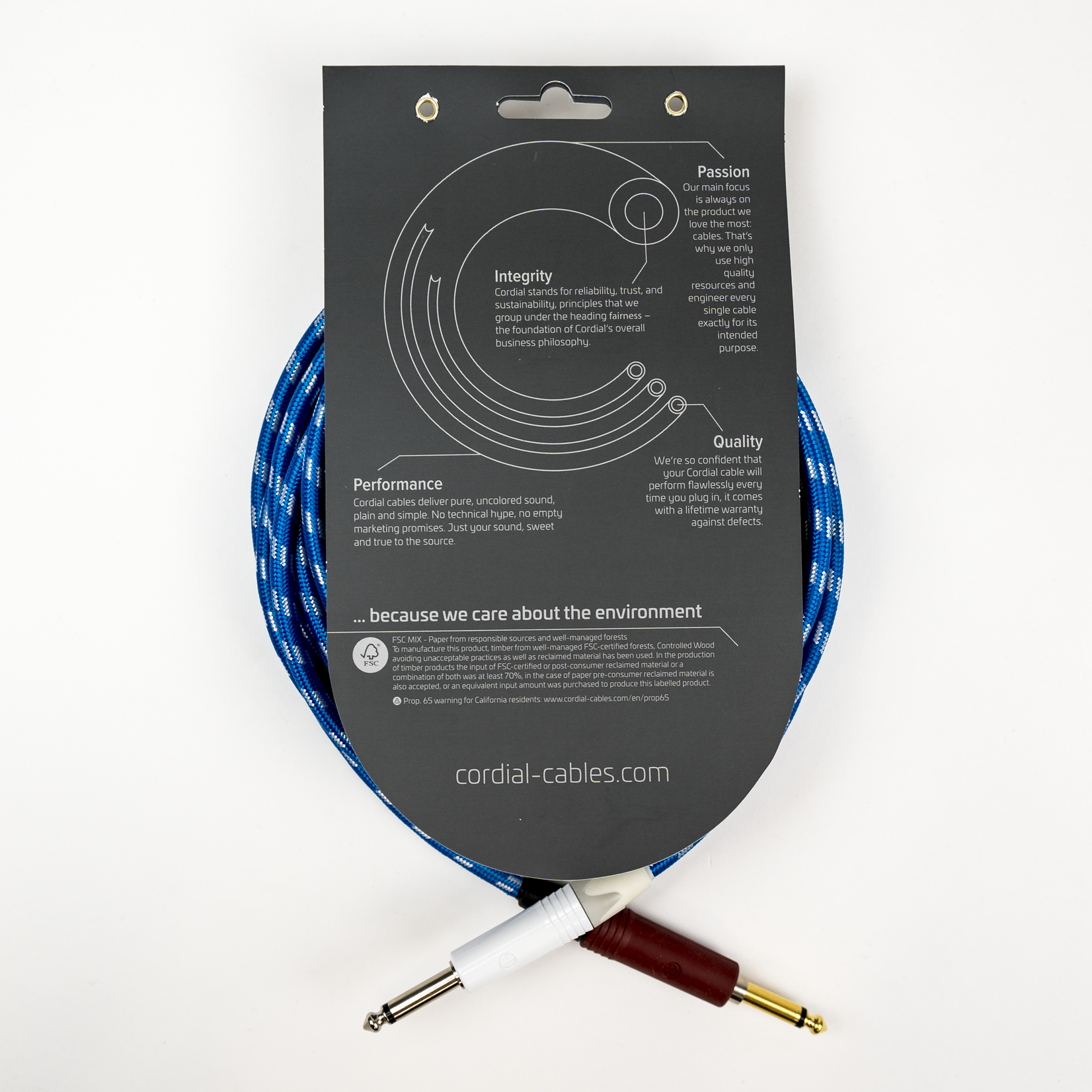 """Cordial Cables Cordial Cables Premium Instrument White/Blue Sky Textile Cable with Neutrik Silent Plug, Peak Series - 20-Foot Cable, 1/4"""" to 1/4"""" Straight Phone Plugs, No-Fray Sleeve"""