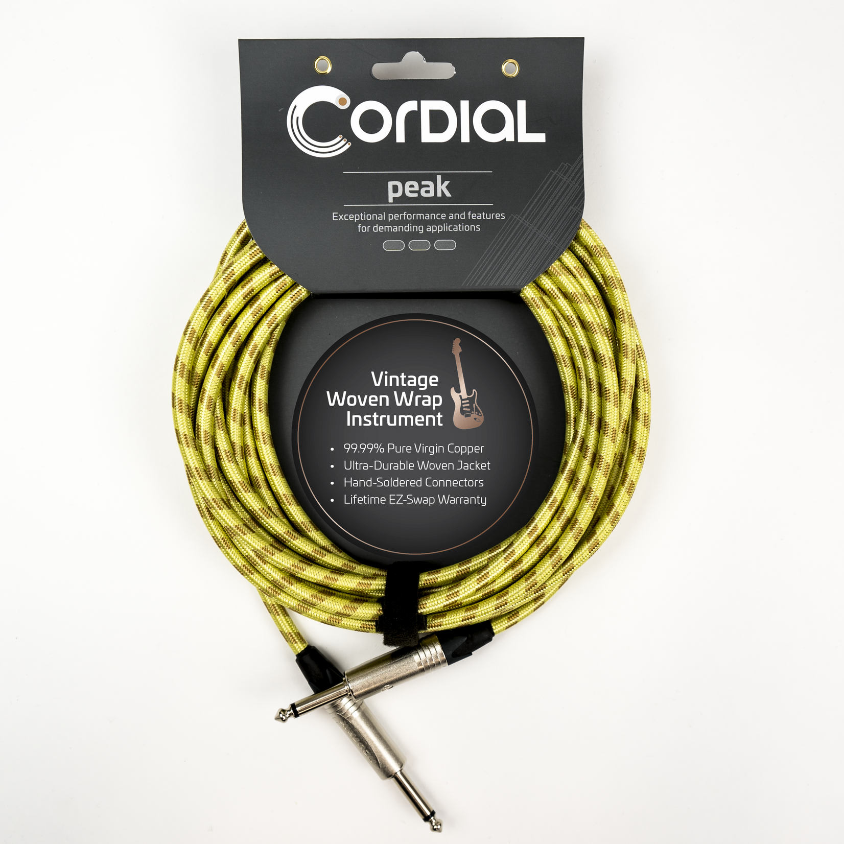"""Cordial Cables Cordial 6m / 20ft Premium Instrument Cable 1/4'' to 1/4'' Straight Plugs, """"Tweed"""" Textile"""