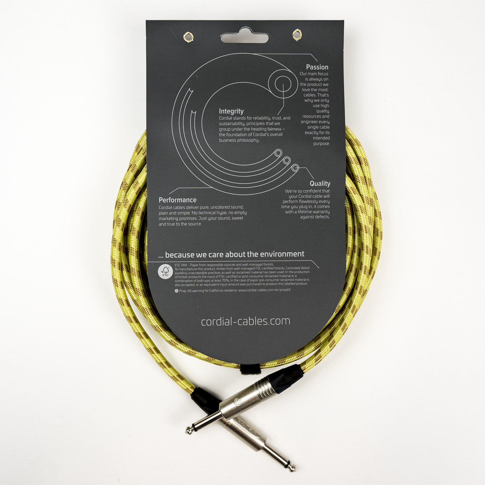Cordial Cables Cordial 3m / 10 ft Premium Instrument Cable - 1/4'' Straight Plugs, Tweed Textile