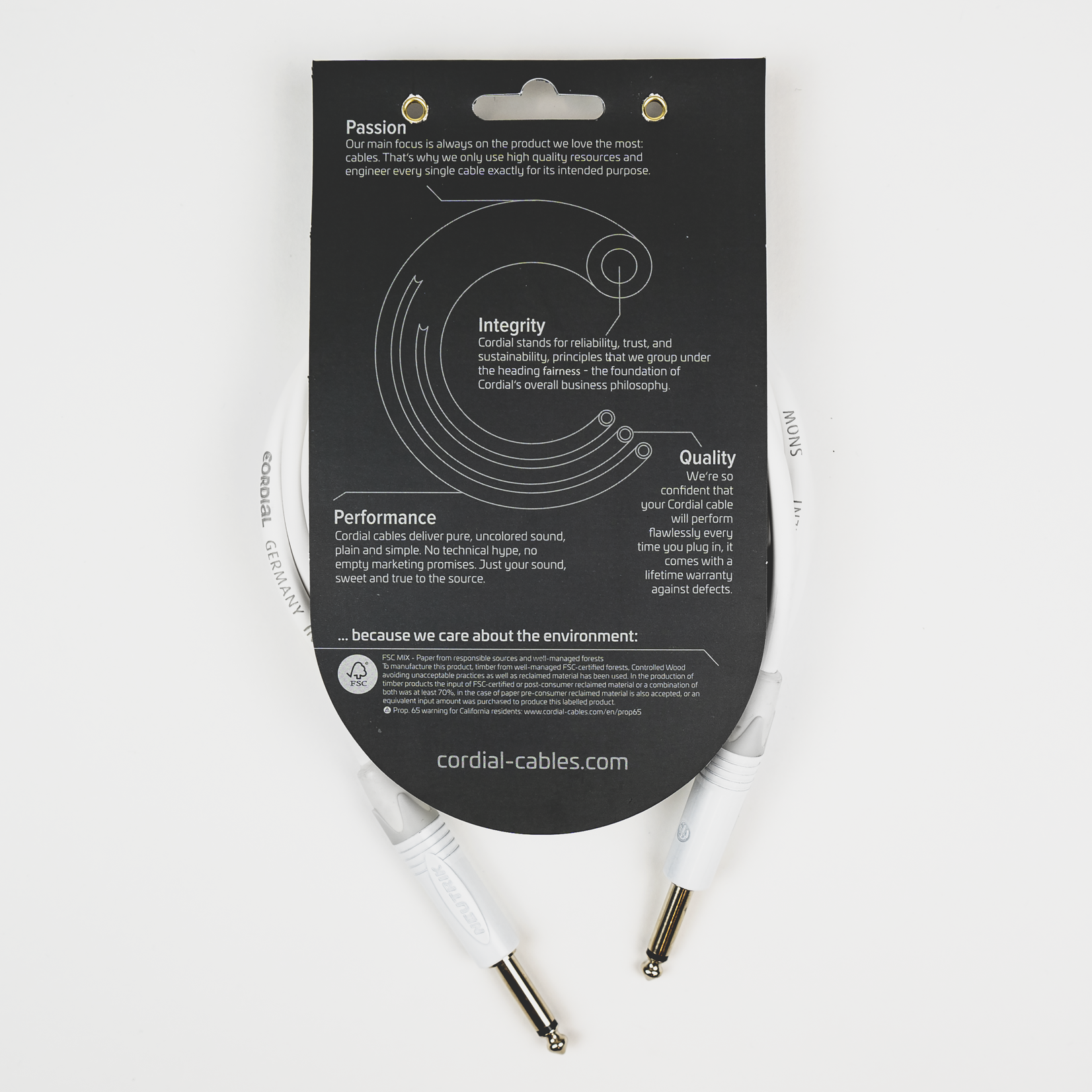 Cordial Cables Cordial 3m / 10 ft Premium Instrument Cable - 1/4'' Straight Plugs, Snow (White)