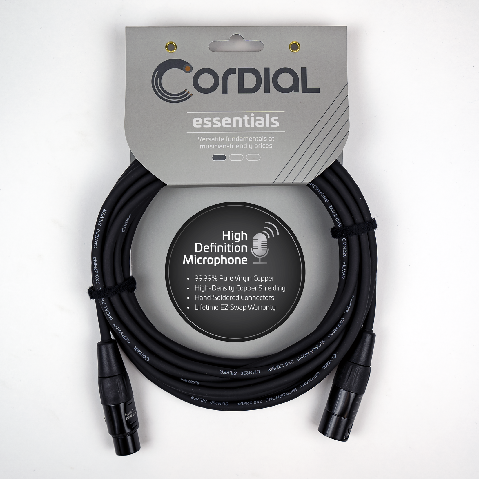 Cordial Cables Cordial Microphone Cable - XLRM to XLRF - 10m / 33 Ft, Essential Series