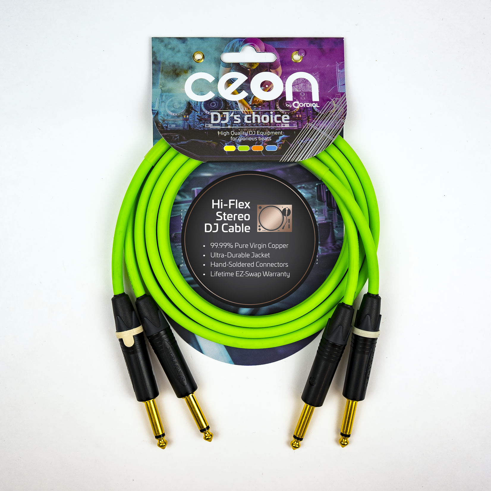 """Cordial Cables Cordial Cables Premium DJ Dual/Mono (Black Light) Cable, Ceon Series - Hi-Flex DJ's Choice Stereo 1/4"""" TS to 1/4"""" TS 5-Foot Cable: Neon Green"""