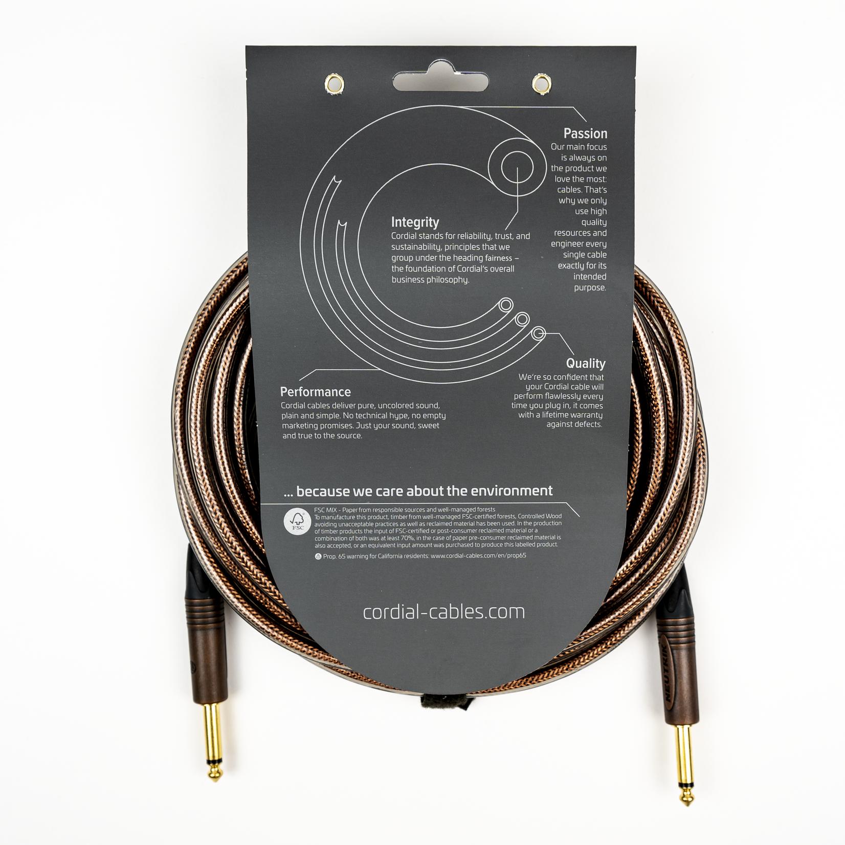 "Cordial Cables Cordial 3m (10 ft) Premium High-Copper Cable, 1/4"" Neutrik Plugs, CSI 3 PP-METAL"