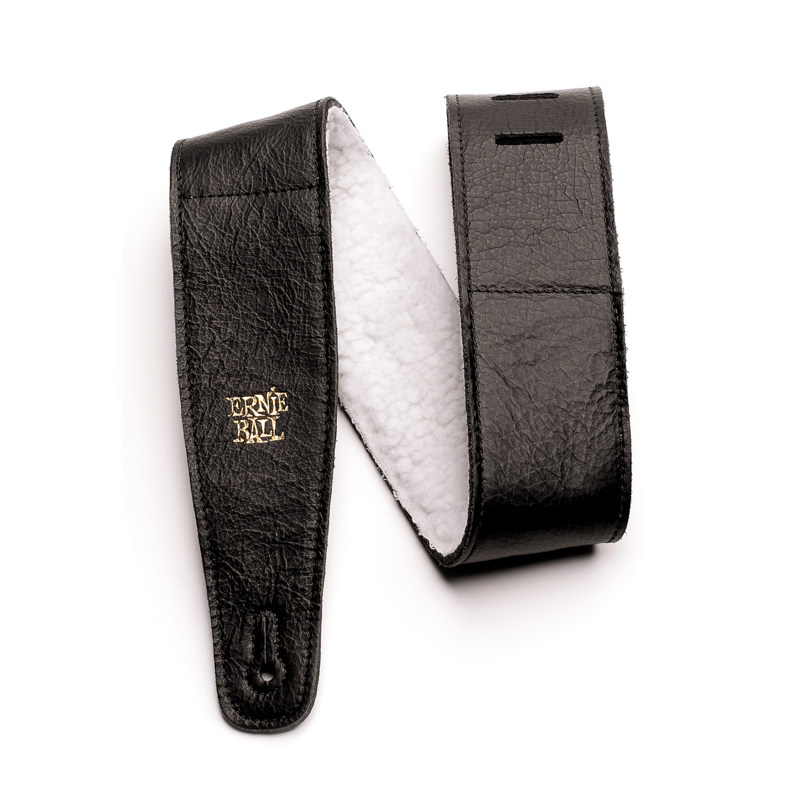 "Ernie Ball Ernie Ball 2.5"" Adjustable Italian Leather Strap with Fur Padding - Black"