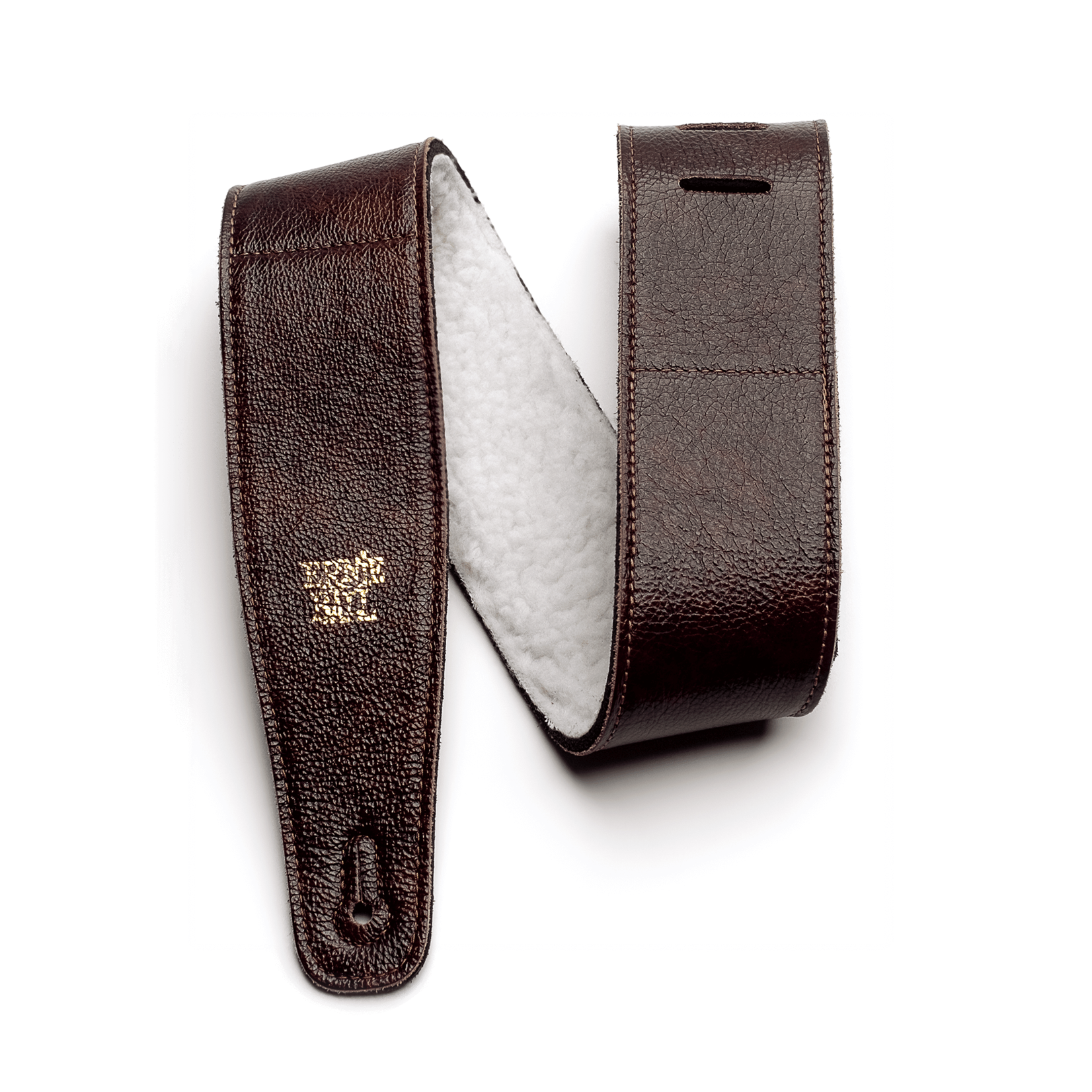 "Ernie Ball Ernie Ball 2.5"" Adjustable Italian Leather Strap with Fur Padding - Chestnut"