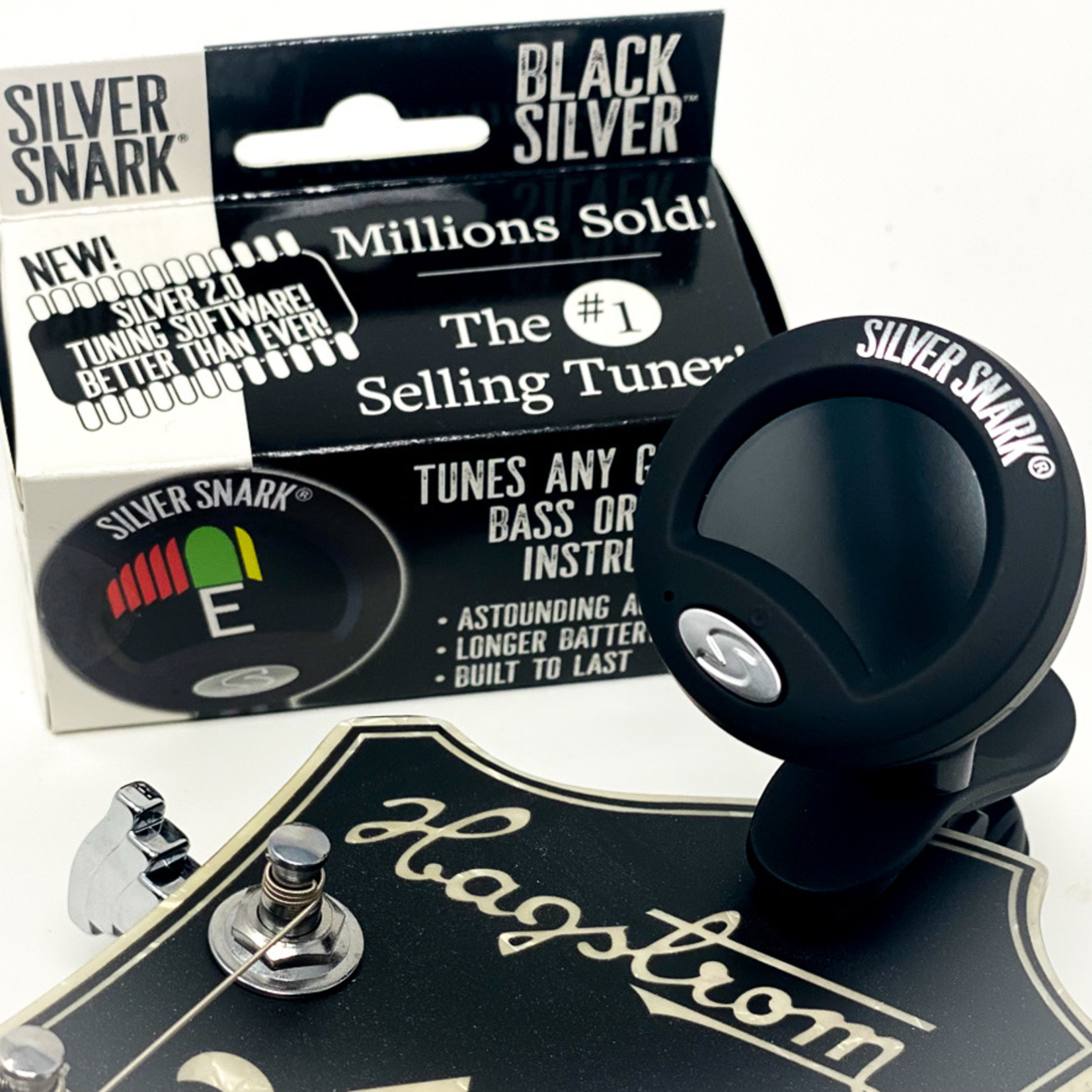 Snark Silver Snark BLACK SILVER - Clip Tuner for All Instruments - NEW Color and 2.0 Software for 2021