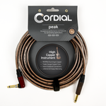 """Cordial Cables Cordial Premium 20-foot (6m) High-Copper """"Metal"""" Instrument Cable, Straight to Angle SilentPlug w/ Translucent Sleeve (CSI6RP-METAL-SILENT)"""
