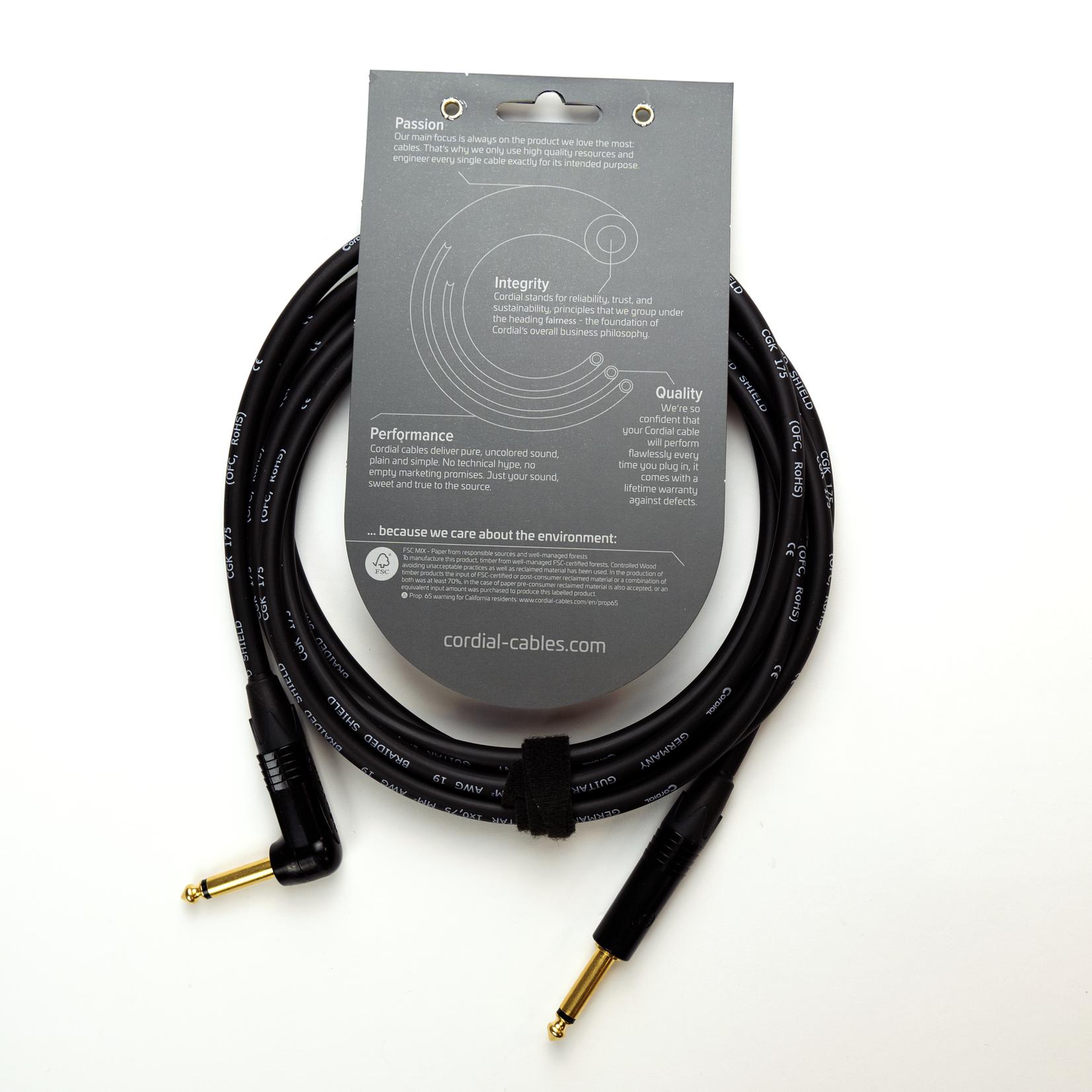 Cordial Cables Cordial 6m (20-foot) Premium High-Copper Instrument Cable, 1/4 Straight-to-Angle Neutrik Connectors (CSI 6 PR 175)