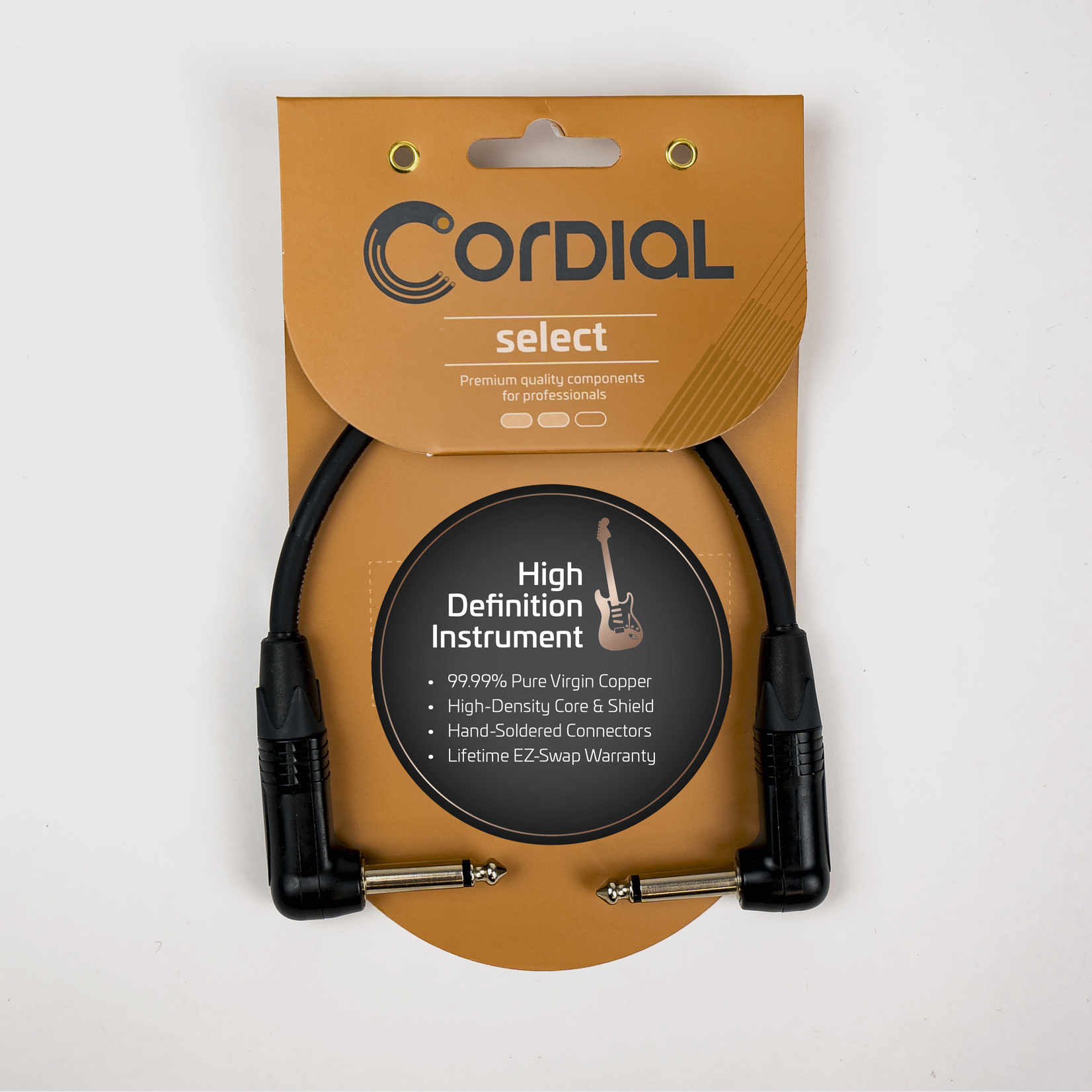 """Cordial Cables Cordial Cables Premium Instrument EFX Patch Stomp Cable, Select Series - 1/4"""" TS to 1/4"""" TS Right Angle (6-Inch Black Cable)"""