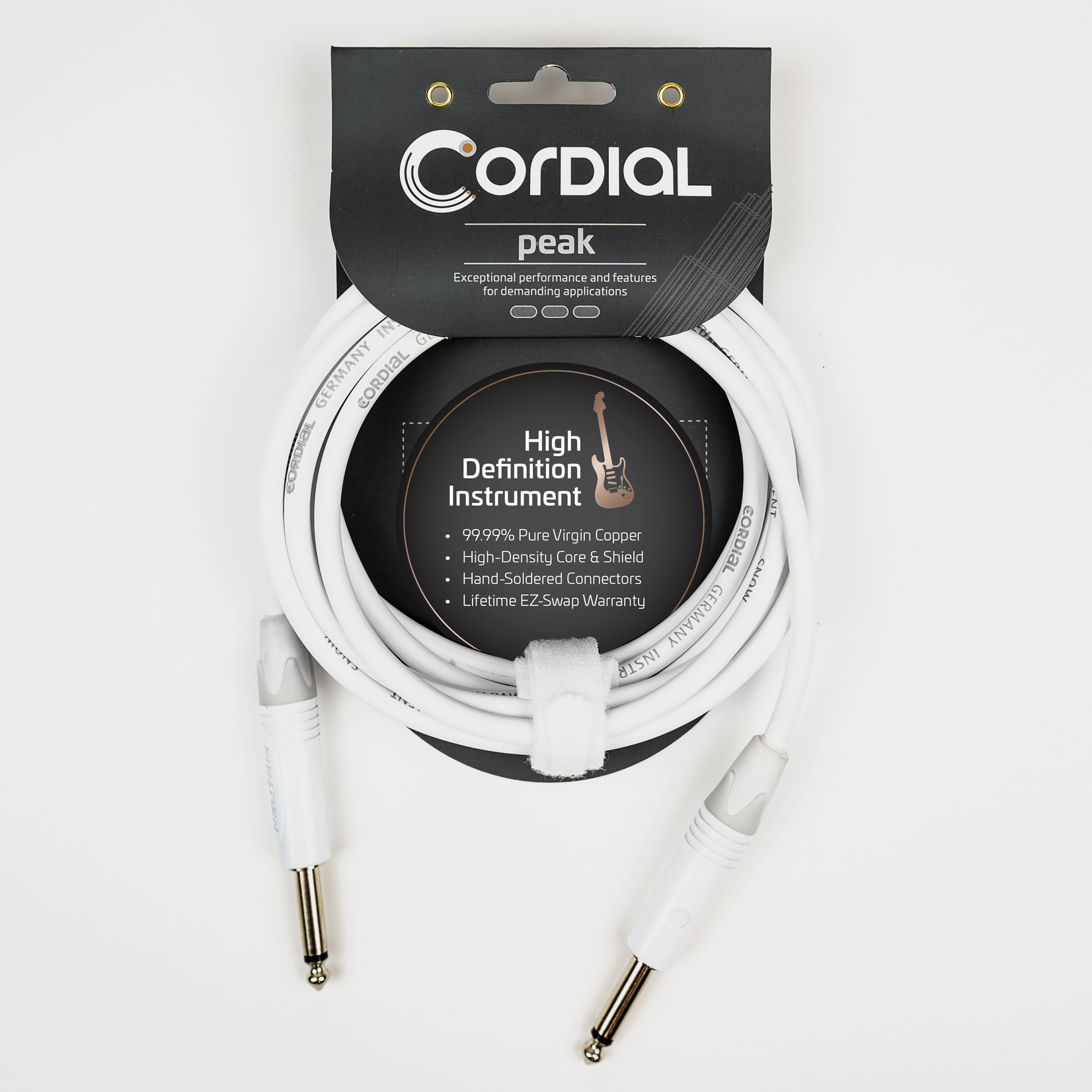 Cordial Cables Cordial 3m /~10ft Instrument Cable for Stage, 1/4'' Neutrik Connectors, CXI 3 PP-SNOW (Germany)