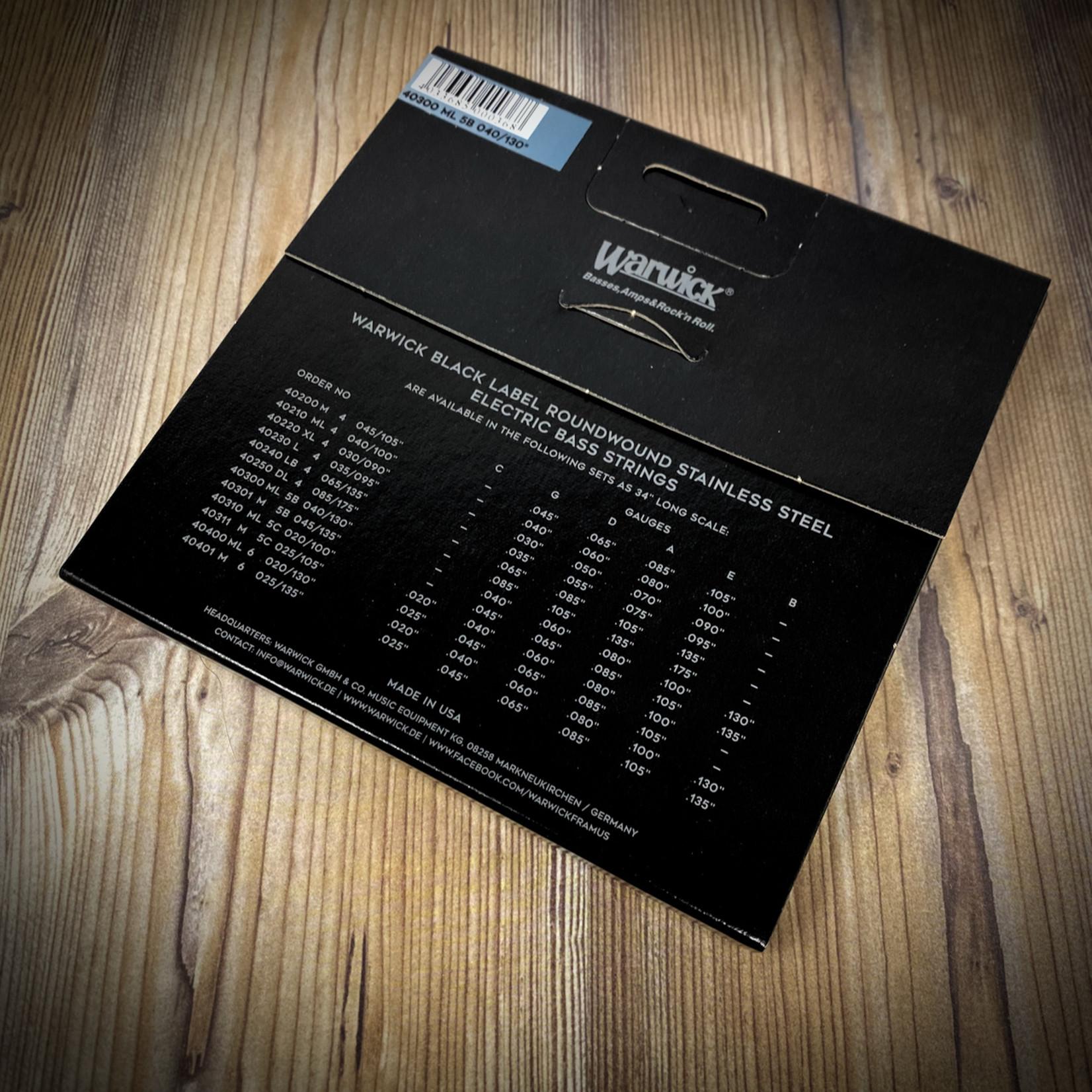 Warwick Warwick Black Label Stainless Steel Bass Strings 5-String Set (Long Scale, Low B), Medium-Light 040/130, 40300