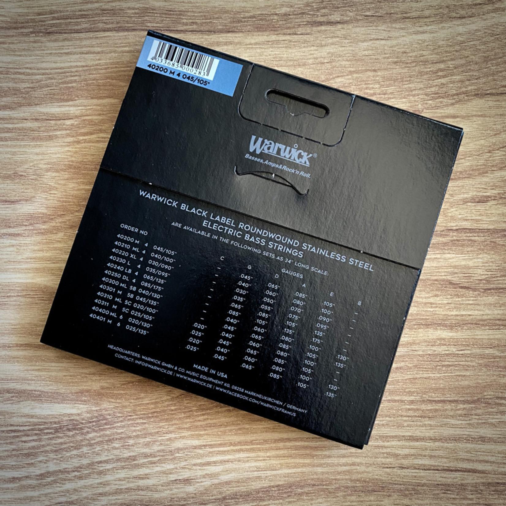 Warwick Warwick Black Label Bass Strings 4-String (Long Scale) Set, Medium 045/105 (40200 M 4)